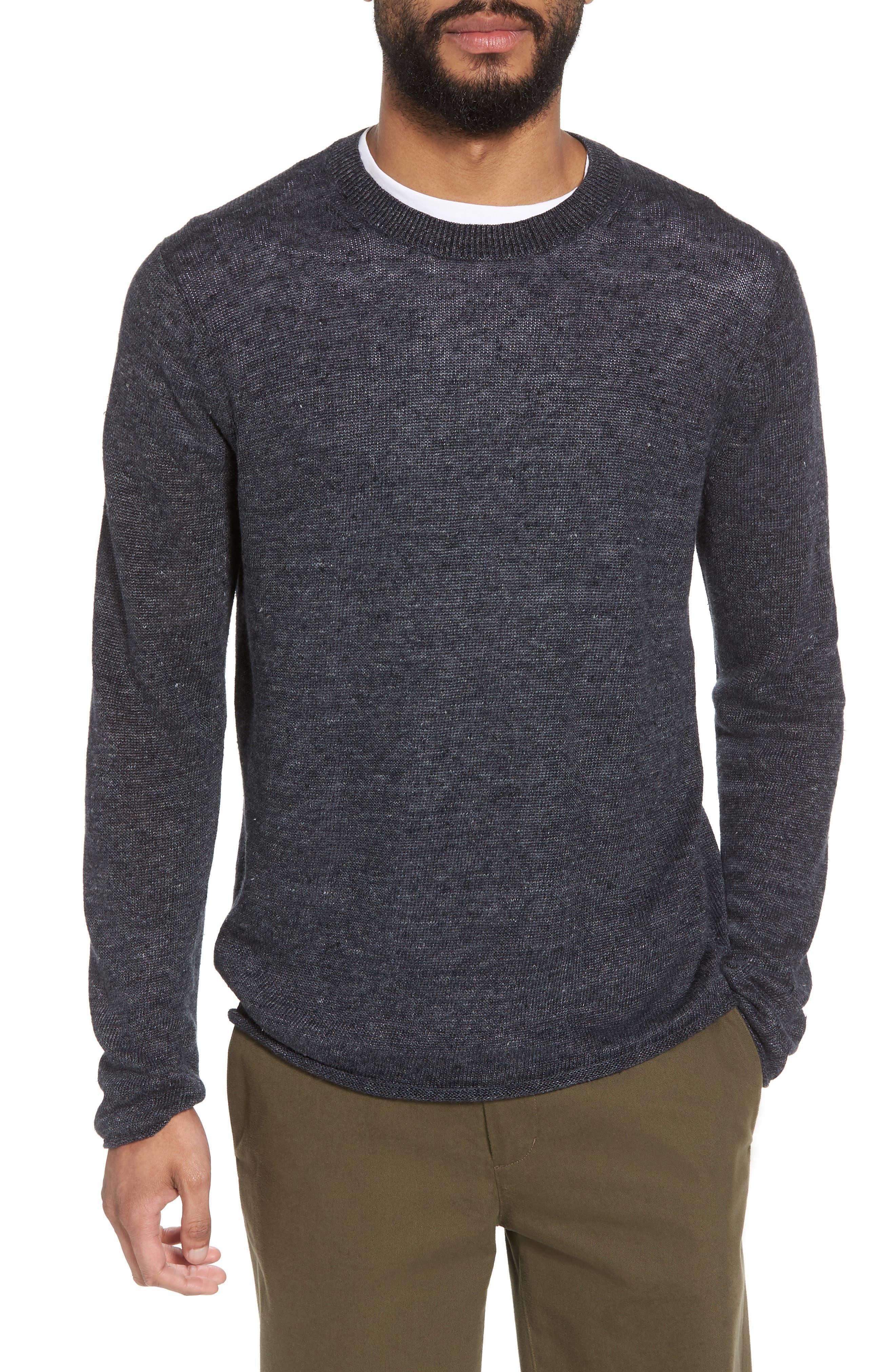 Slim Fit Linen Crewneck Sweater,                         Main,                         color, 001