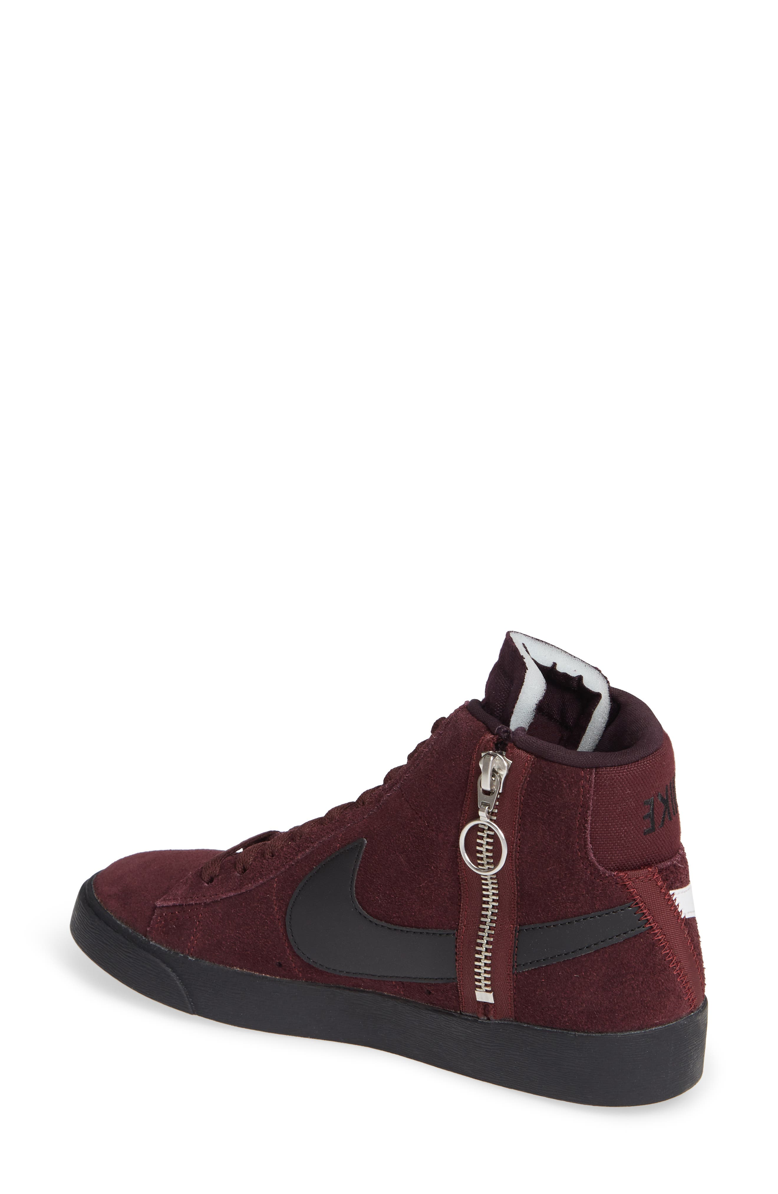 Blazer Mid Rebel Sneaker,                             Alternate thumbnail 2, color,                             BURGUNDY CRUSH/ ASH- WHITE
