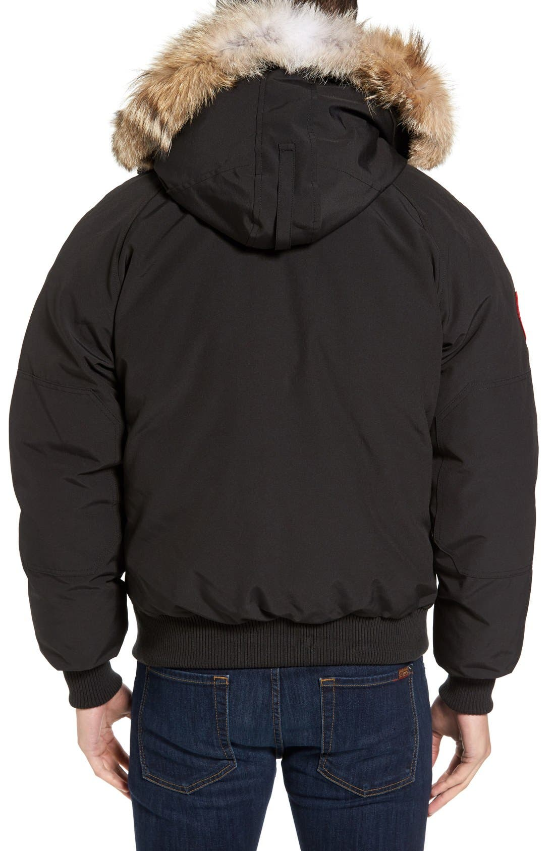 'Chilliwack' Down Bomber Jacket with Genuine Coyote Trim,                             Main thumbnail 1, color,                             001