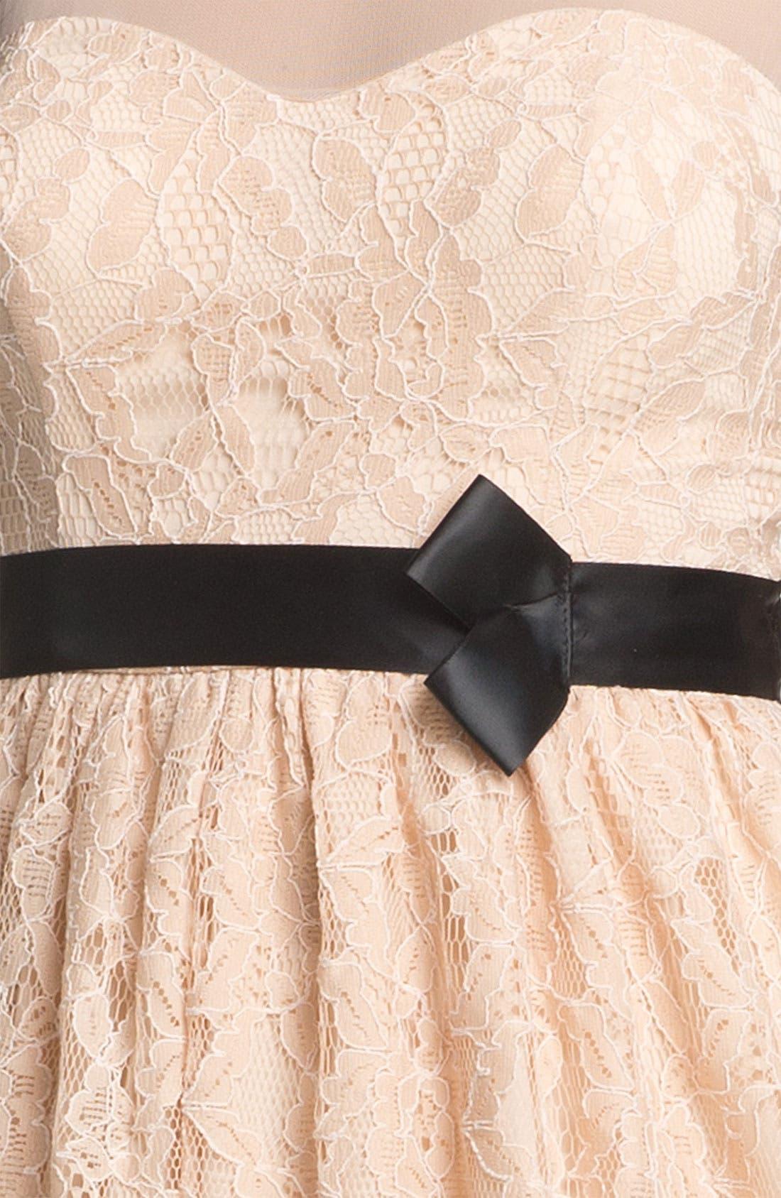 Illusion Lace Fit & Flare Dress,                             Alternate thumbnail 5, color,