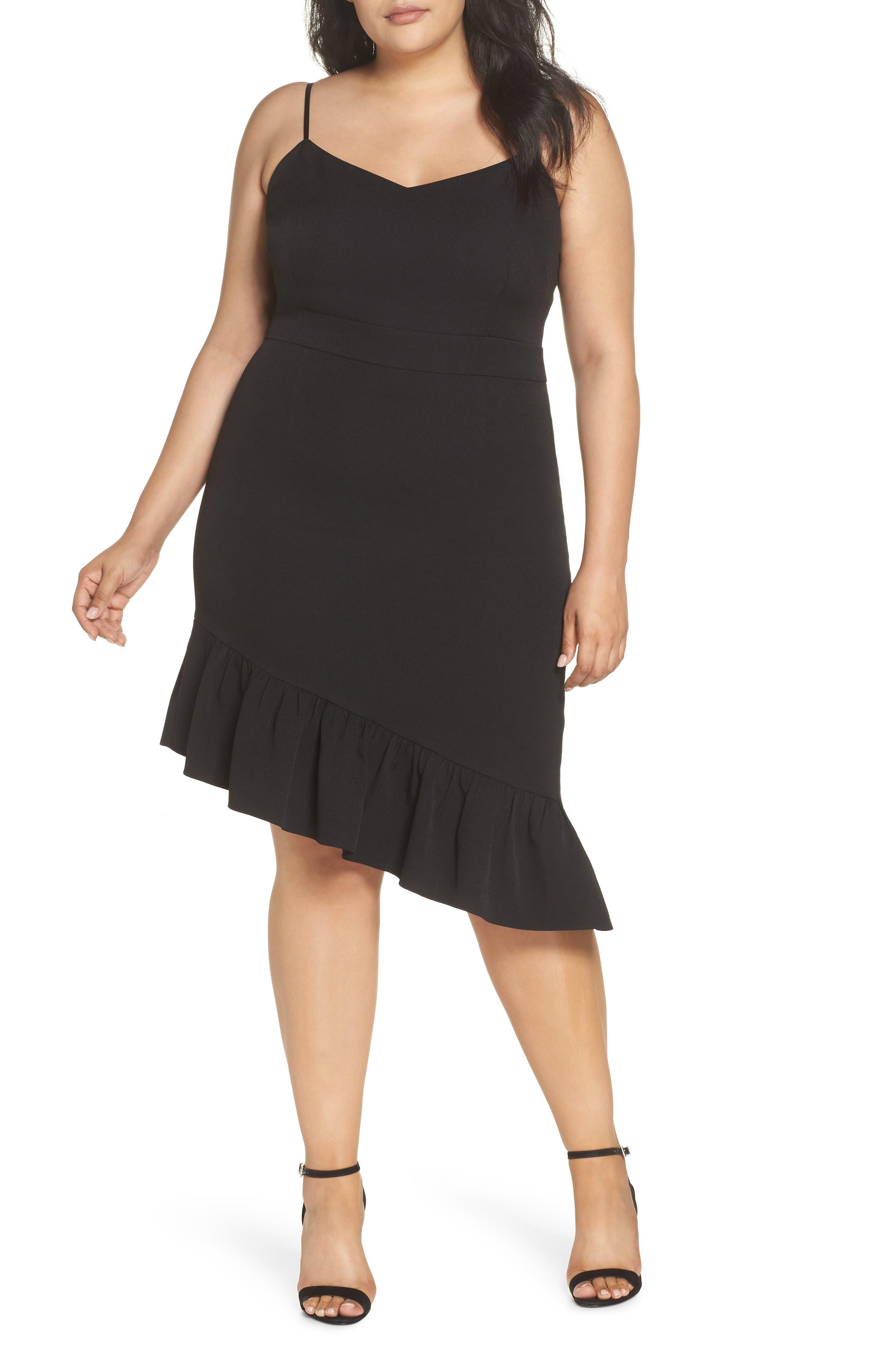 Asymmetric Ruffle Hem Dress,                             Alternate thumbnail 2, color,                             001