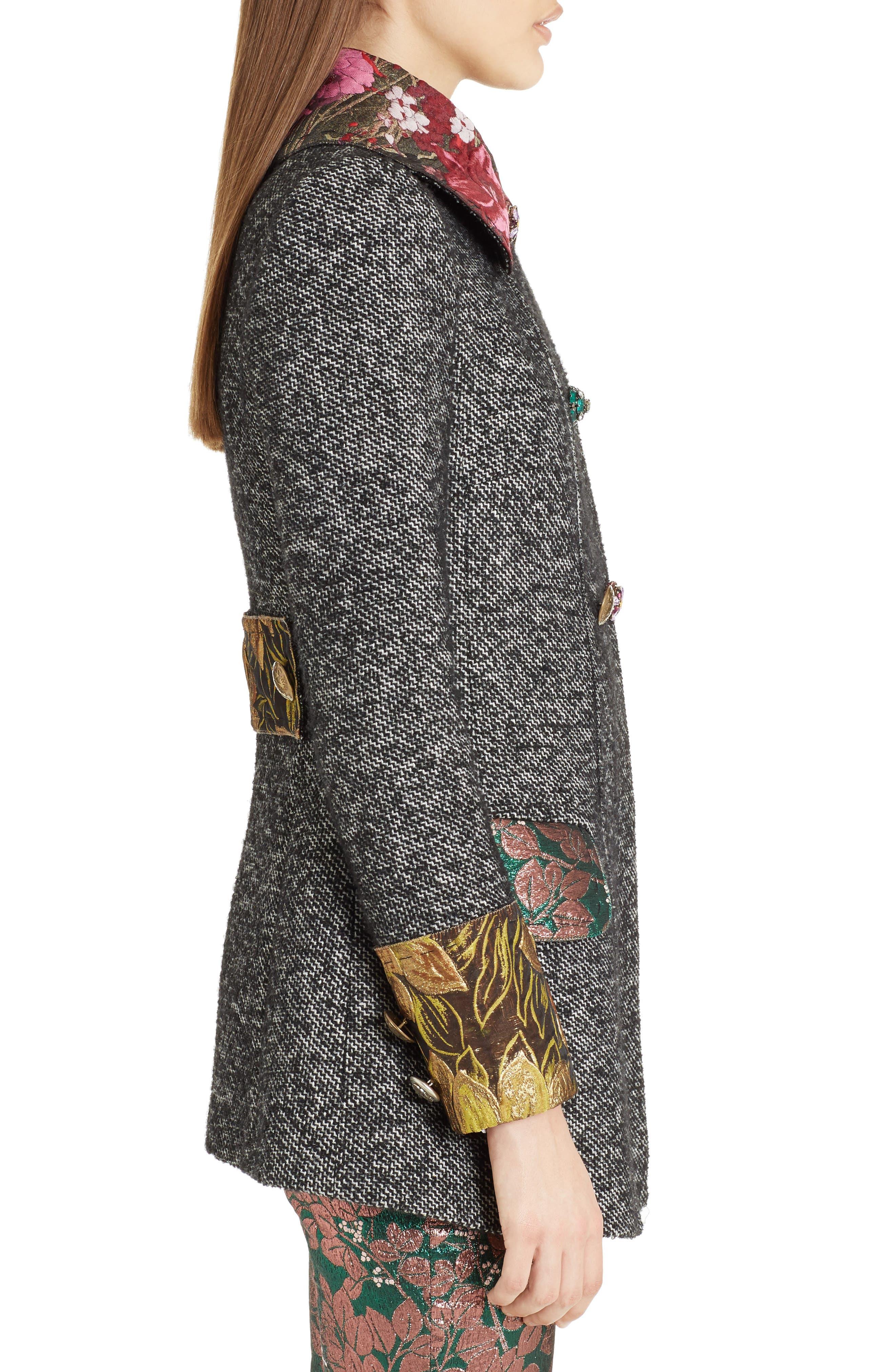 Jacquard Trim Tweed Coat,                             Alternate thumbnail 3, color,                             060