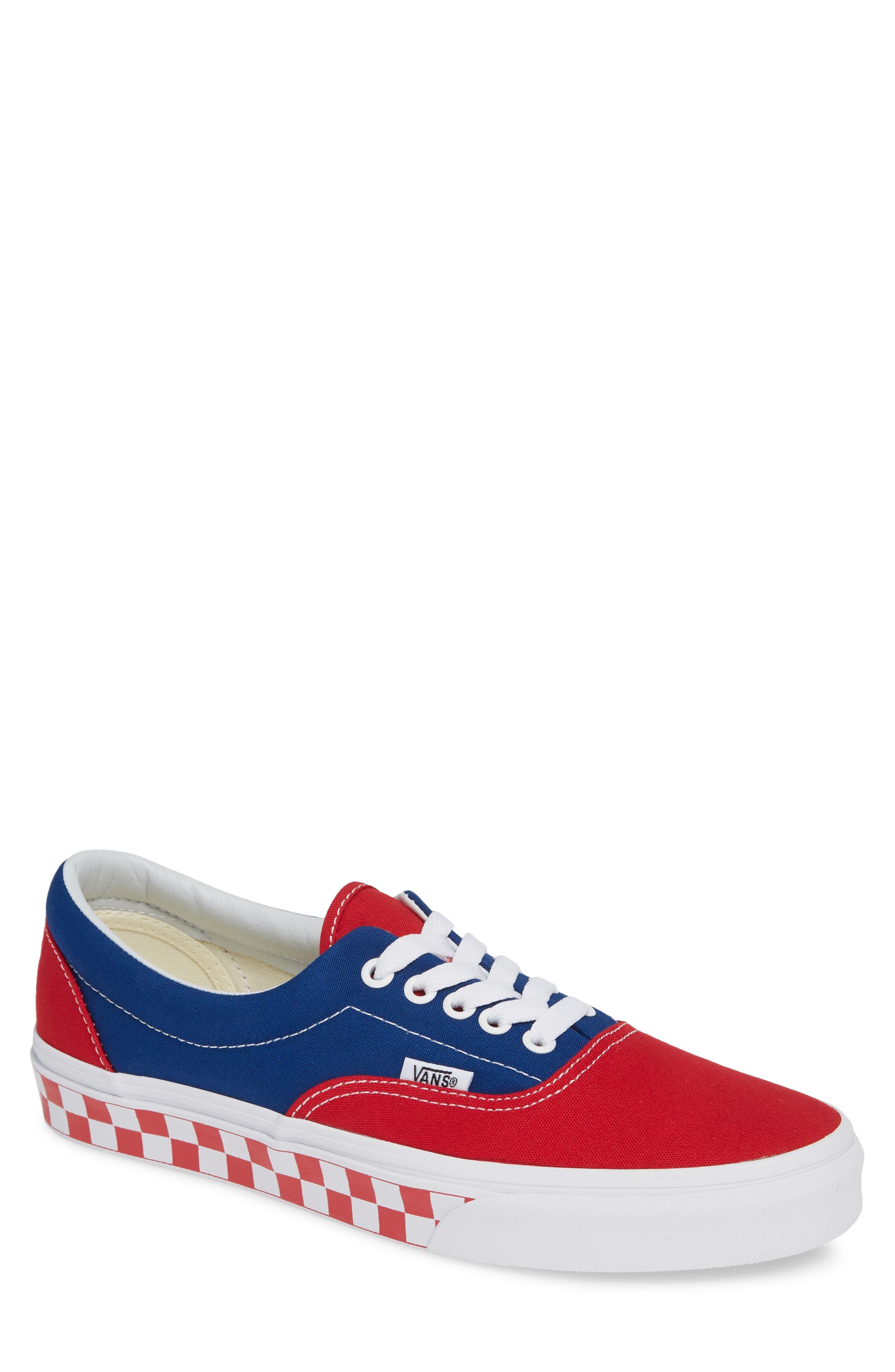 BMX Checkerboard Era Sneaker,                             Main thumbnail 1, color,                             BLUE/ RED CHECKER CANVAS