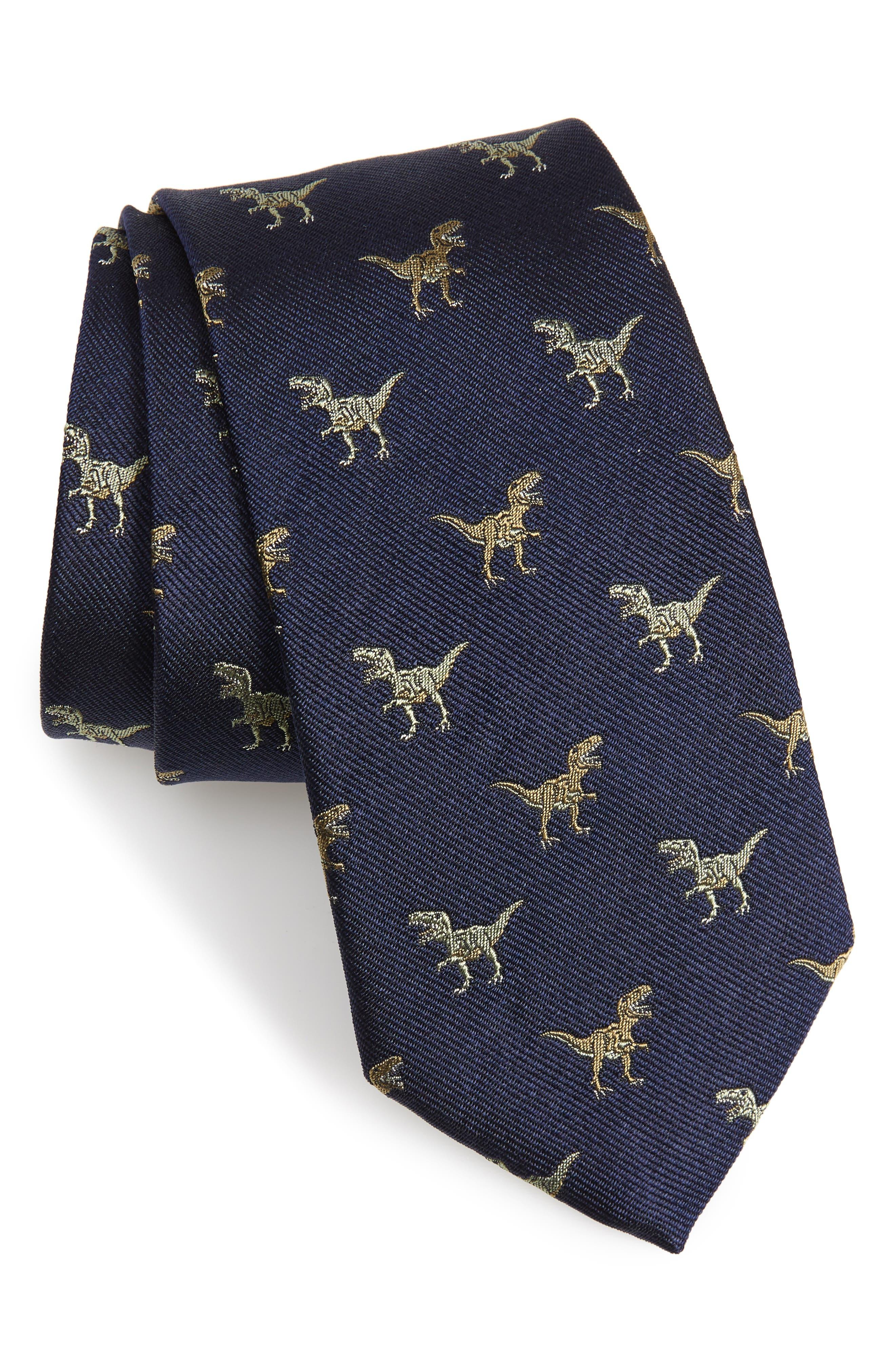 Shadow T-Rex Print Silk Tie,                         Main,                         color, 410