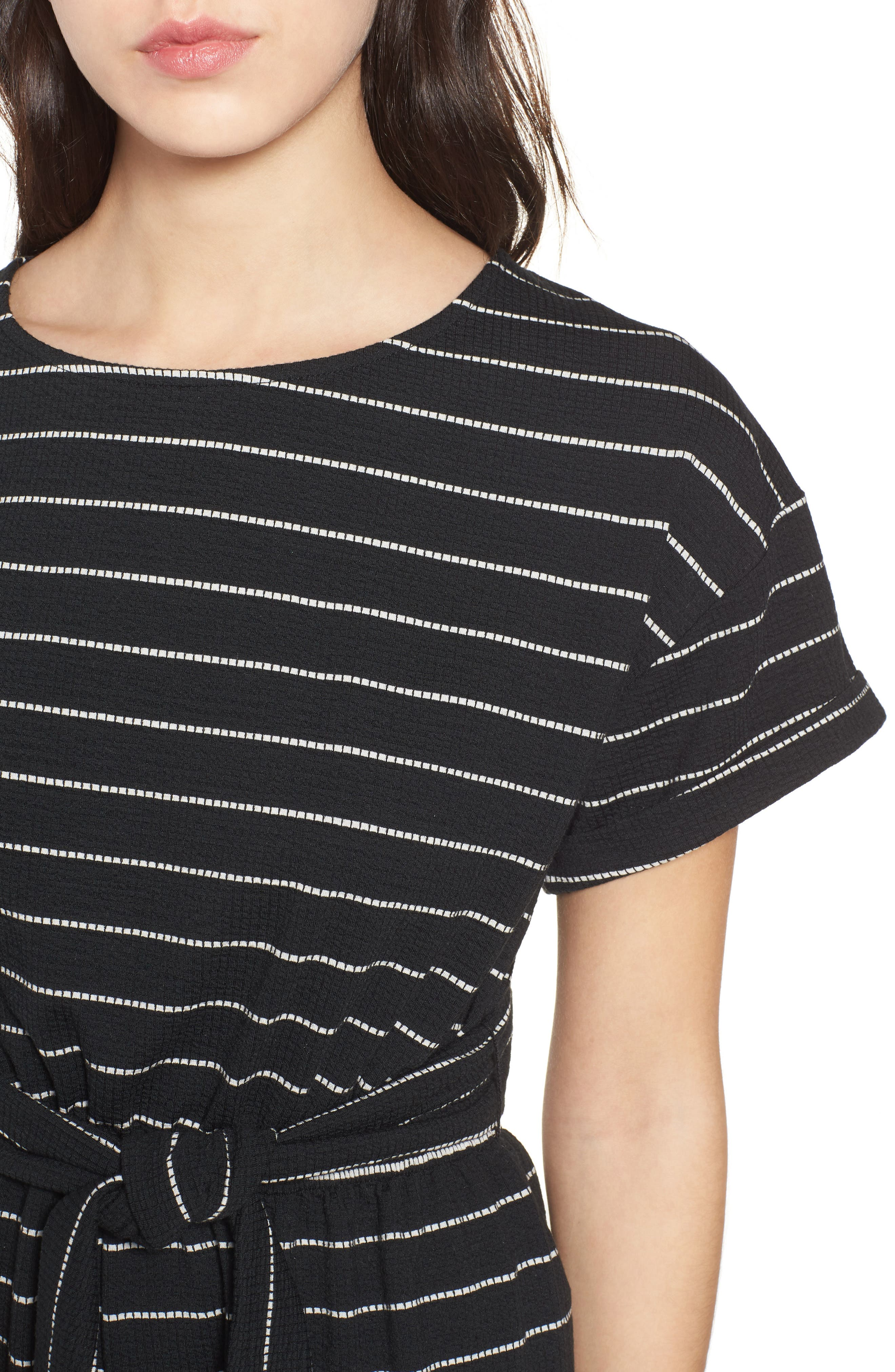 Stripe Knit Romper,                             Alternate thumbnail 4, color,                             004