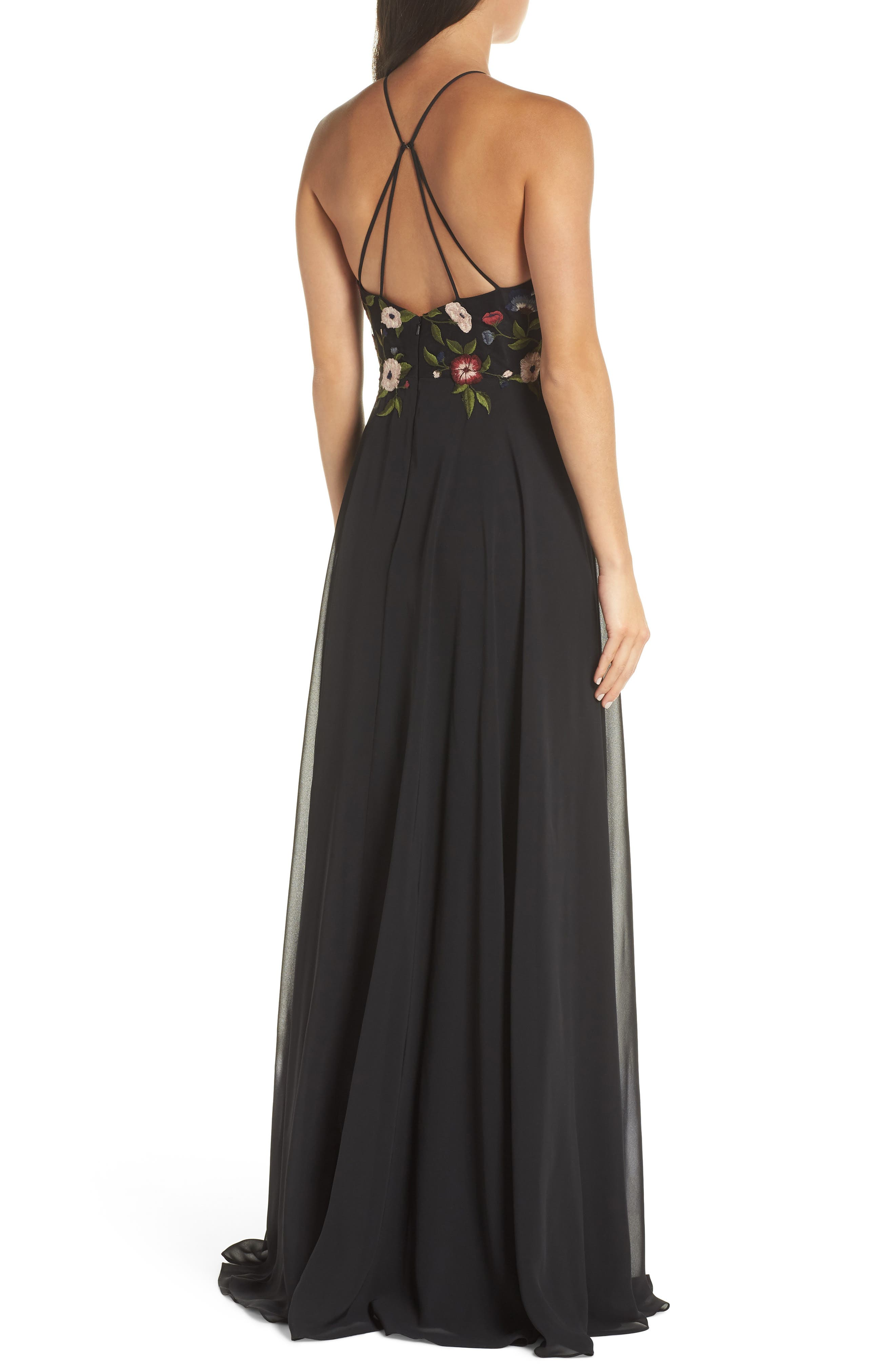 Sophie Embroidered Luxe Chiffon Gown,                             Alternate thumbnail 2, color,                             BLACK MULTI