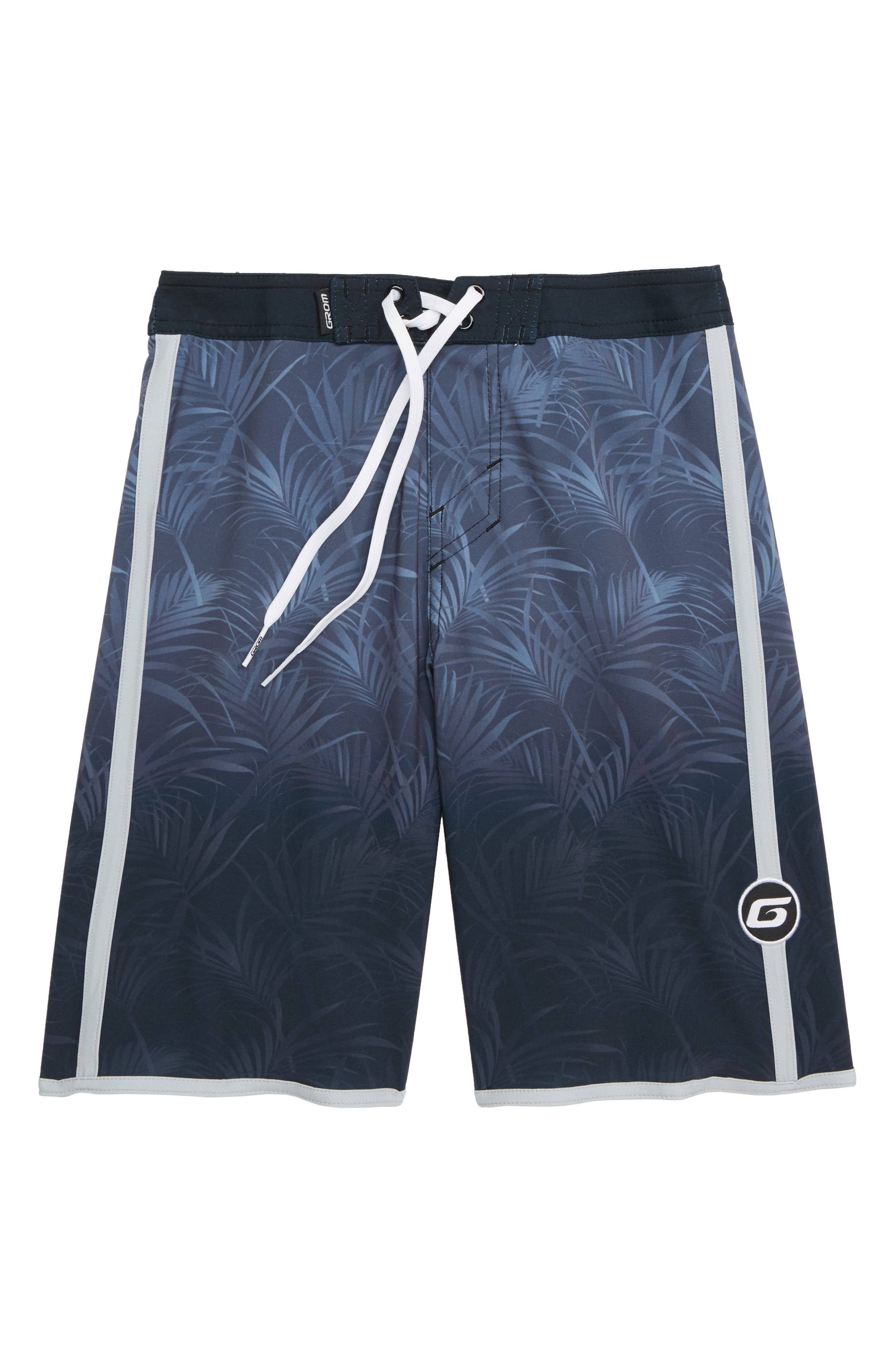 Palm Fade Board Shorts,                             Main thumbnail 1, color,                             BLACK