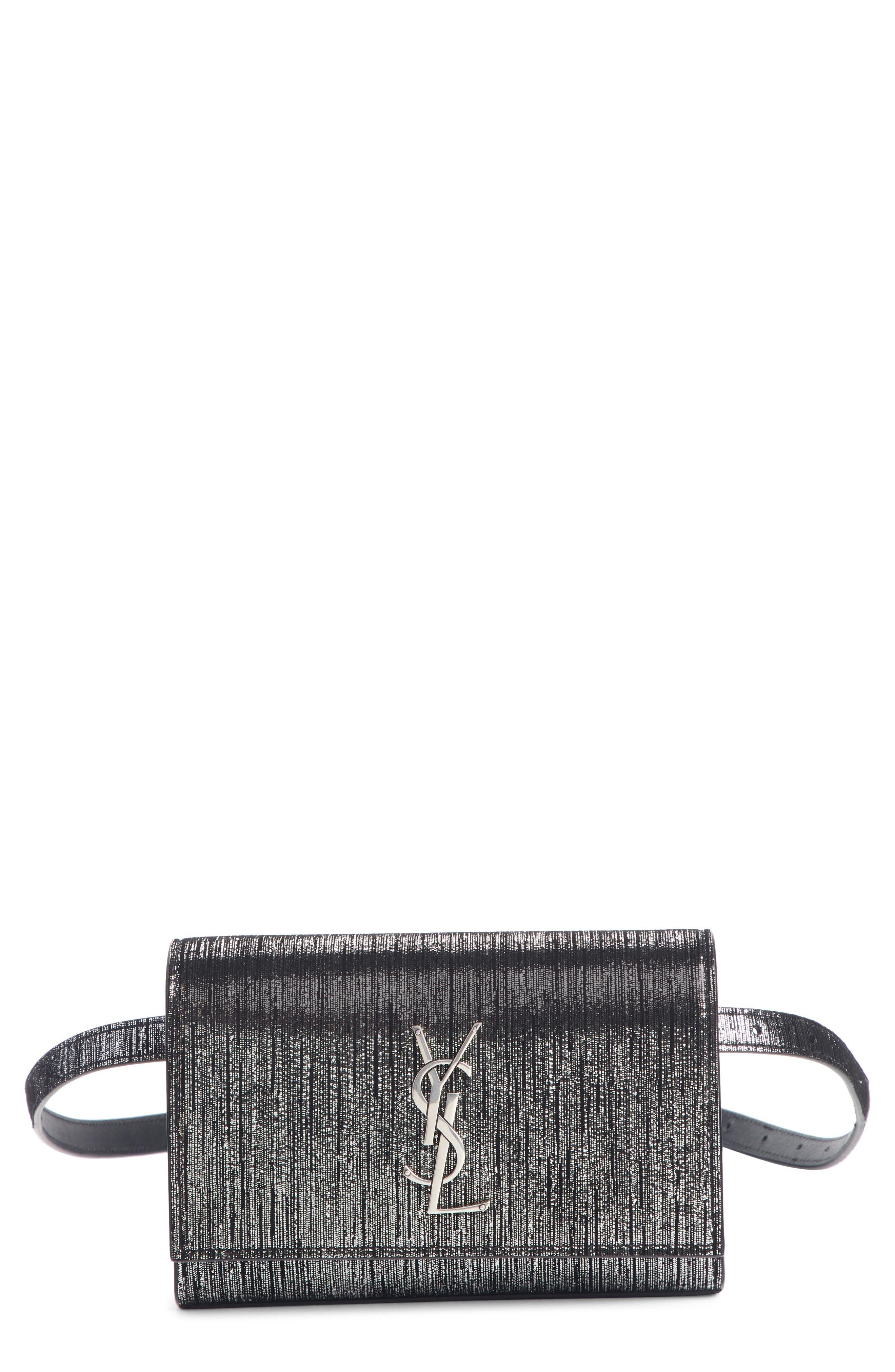 Kate Lamé Lambskin Leather Belt Bag, Main, color, NOIR/ PLATINE