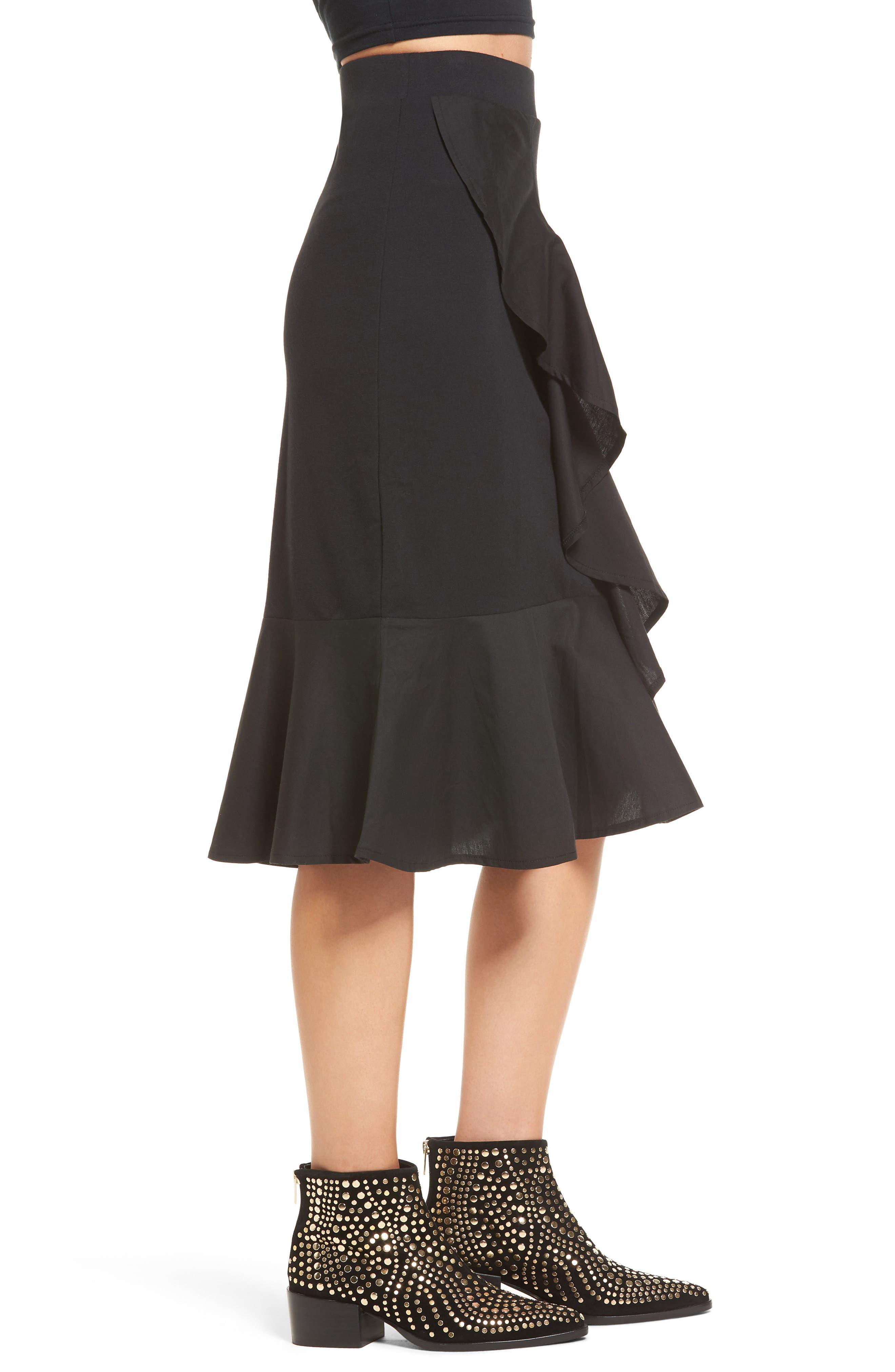 Ruffle Hem Skirt,                             Alternate thumbnail 3, color,                             001