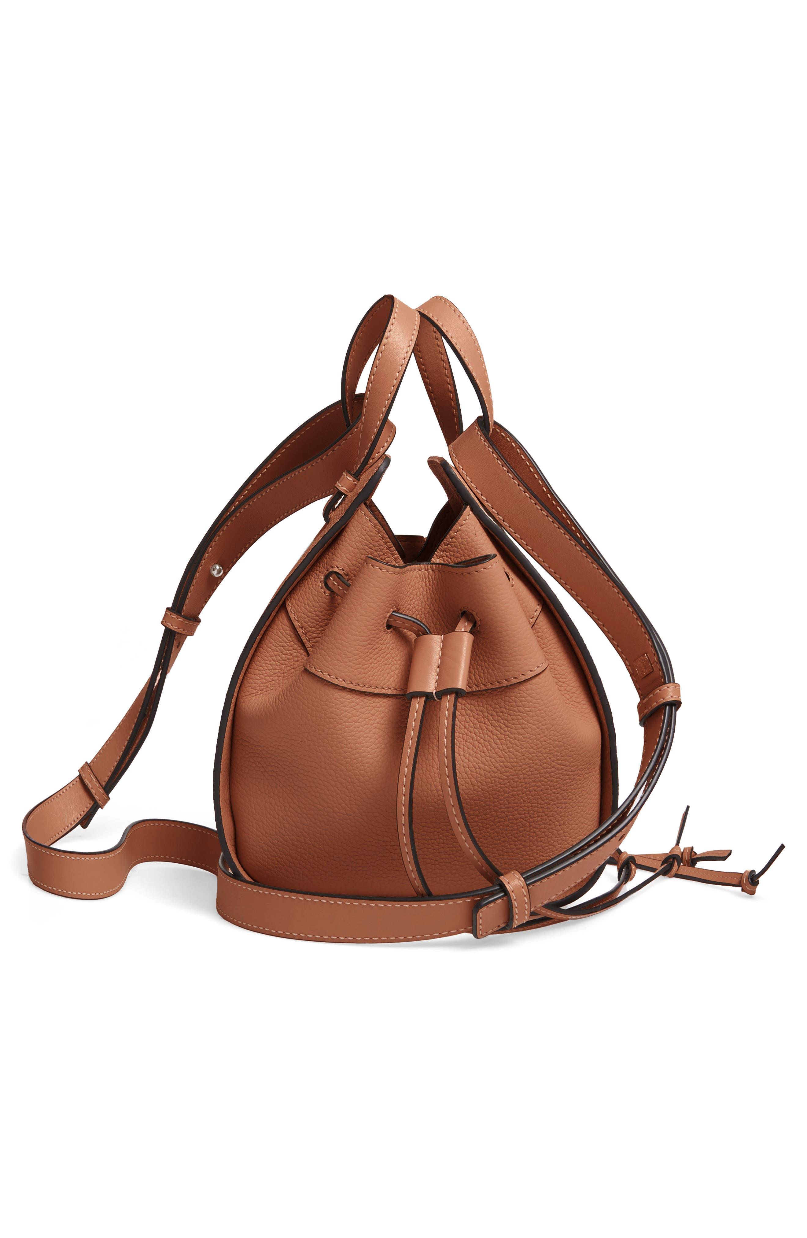 LOEWE,                             Mini Hammock Calfskin Leather Hobo Bag,                             Alternate thumbnail 6, color,                             TAN