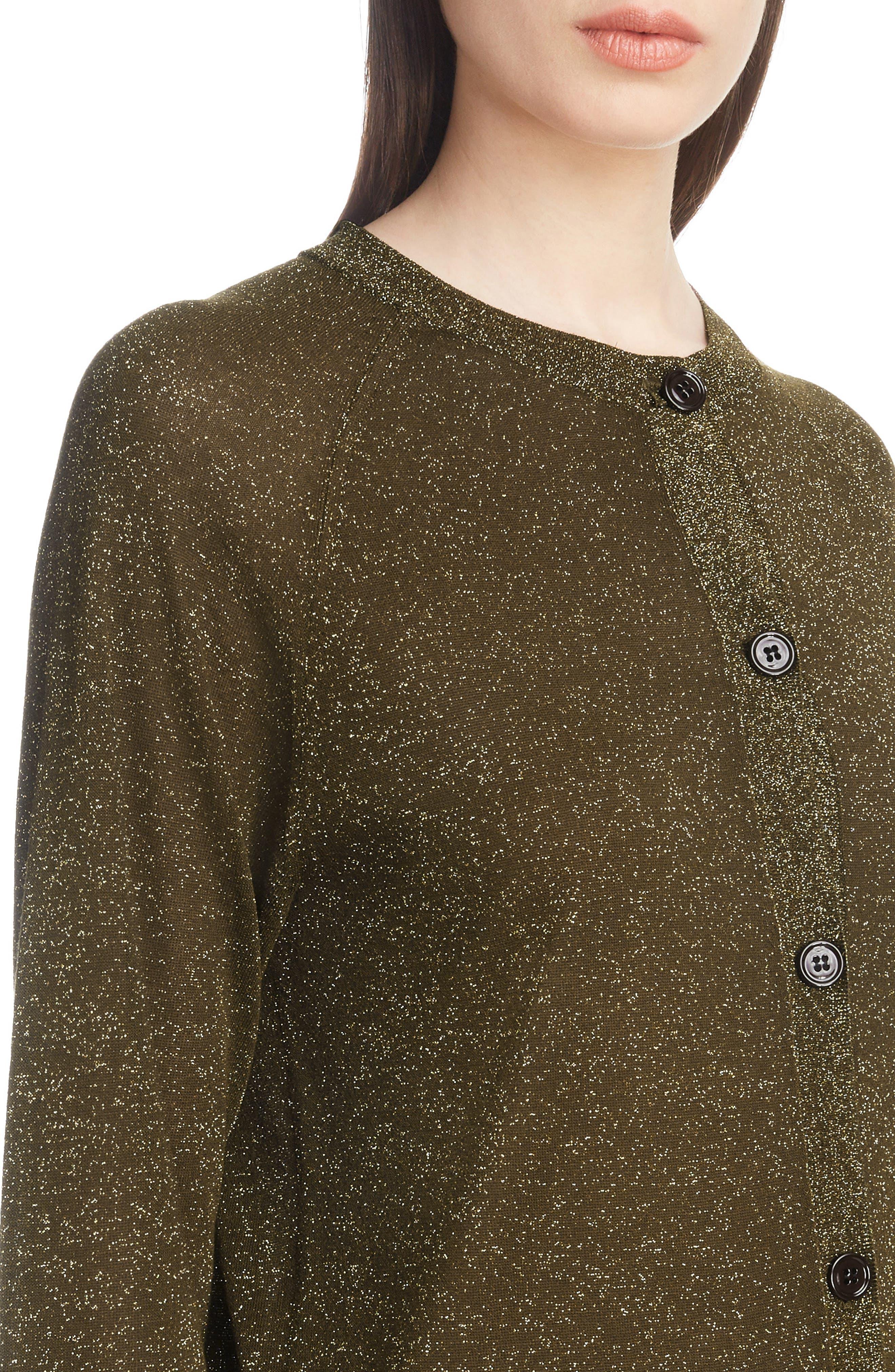 Metallic Knit Cardigan,                             Alternate thumbnail 4, color,                             BRONZE