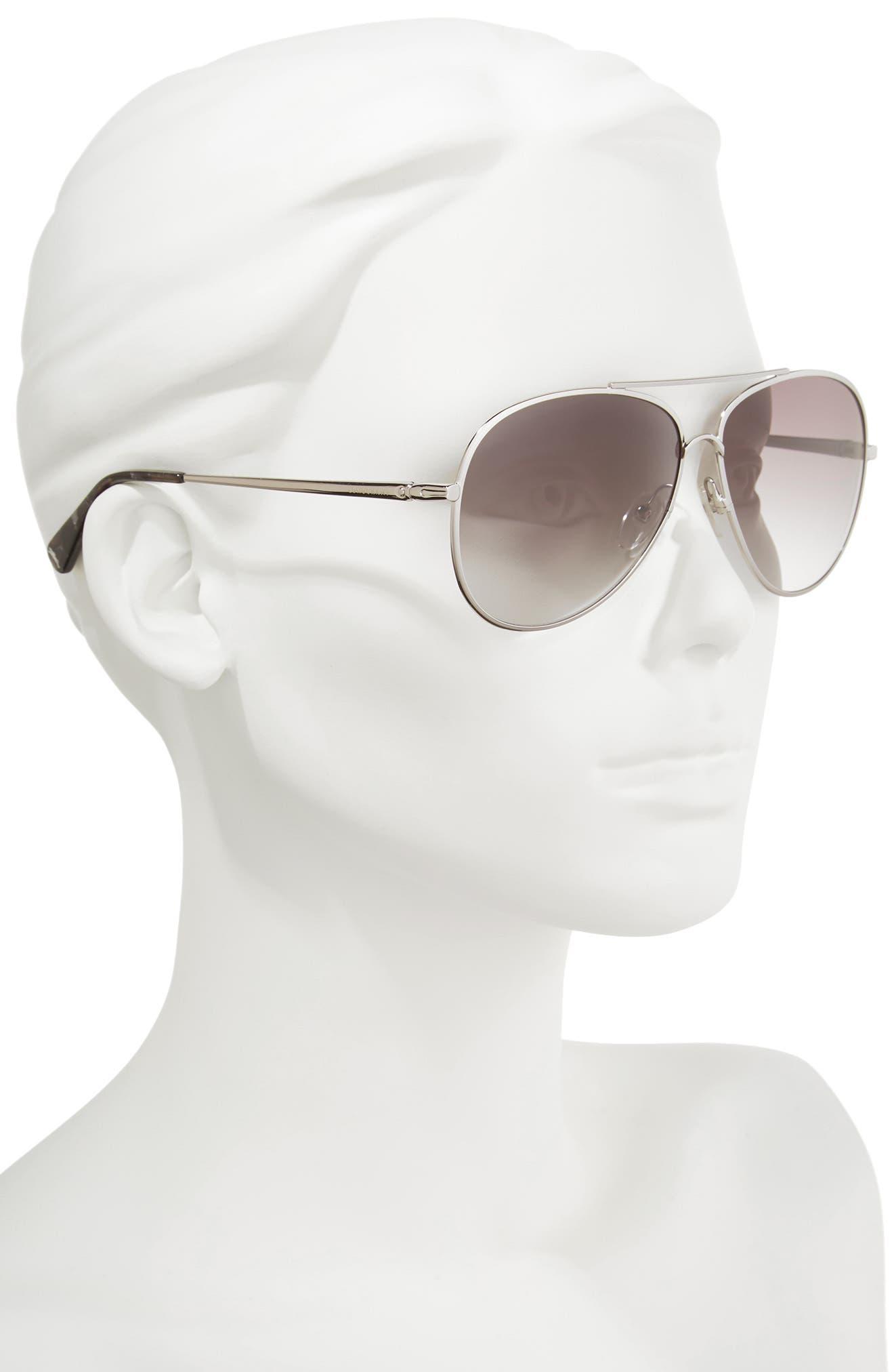 61mm Gradient Lens Aviator Sunglasses,                             Alternate thumbnail 2, color,                             033