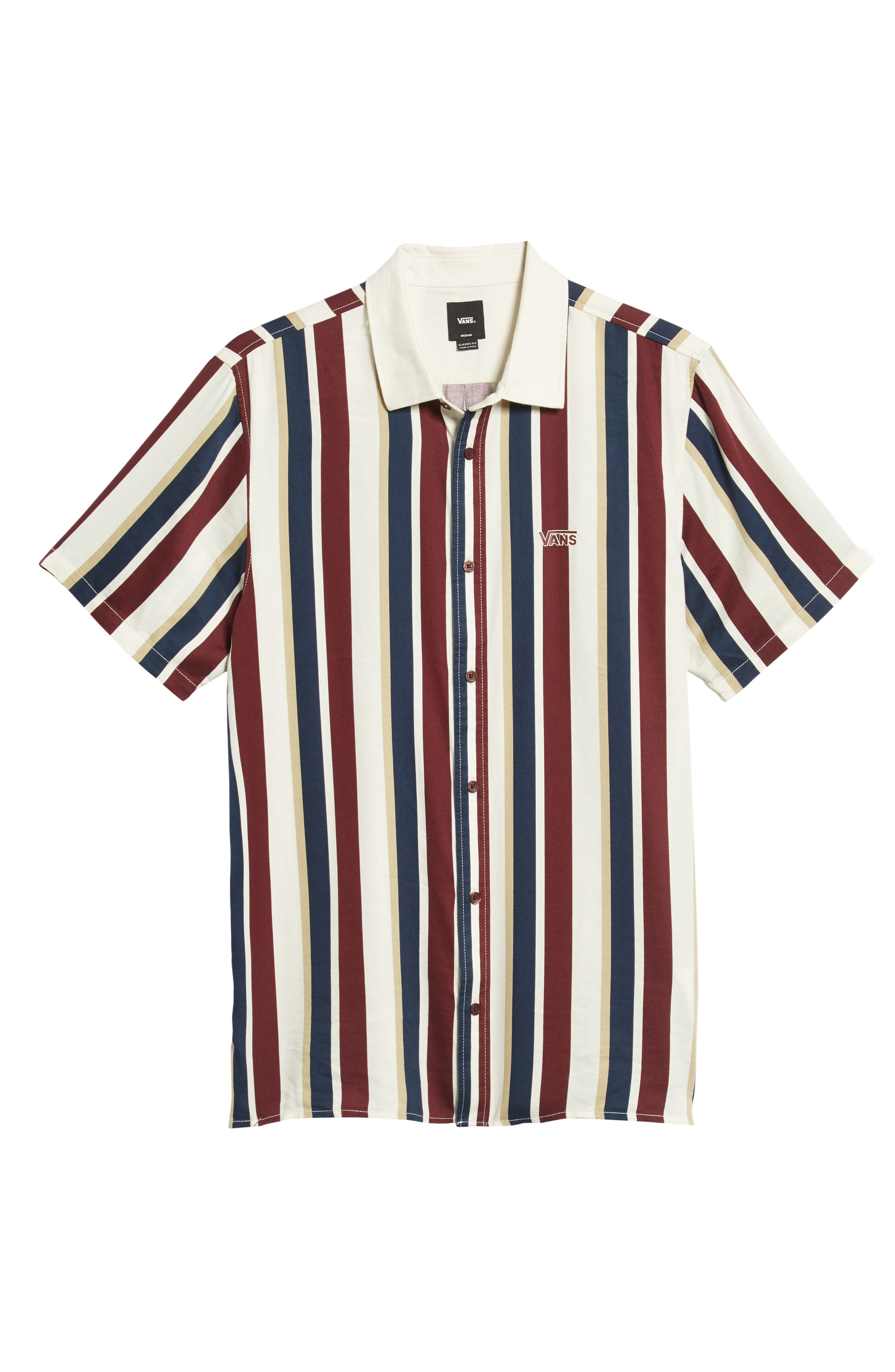 Big Bars Short Sleeve Shirt,                             Alternate thumbnail 5, color,                             OFF WHITE