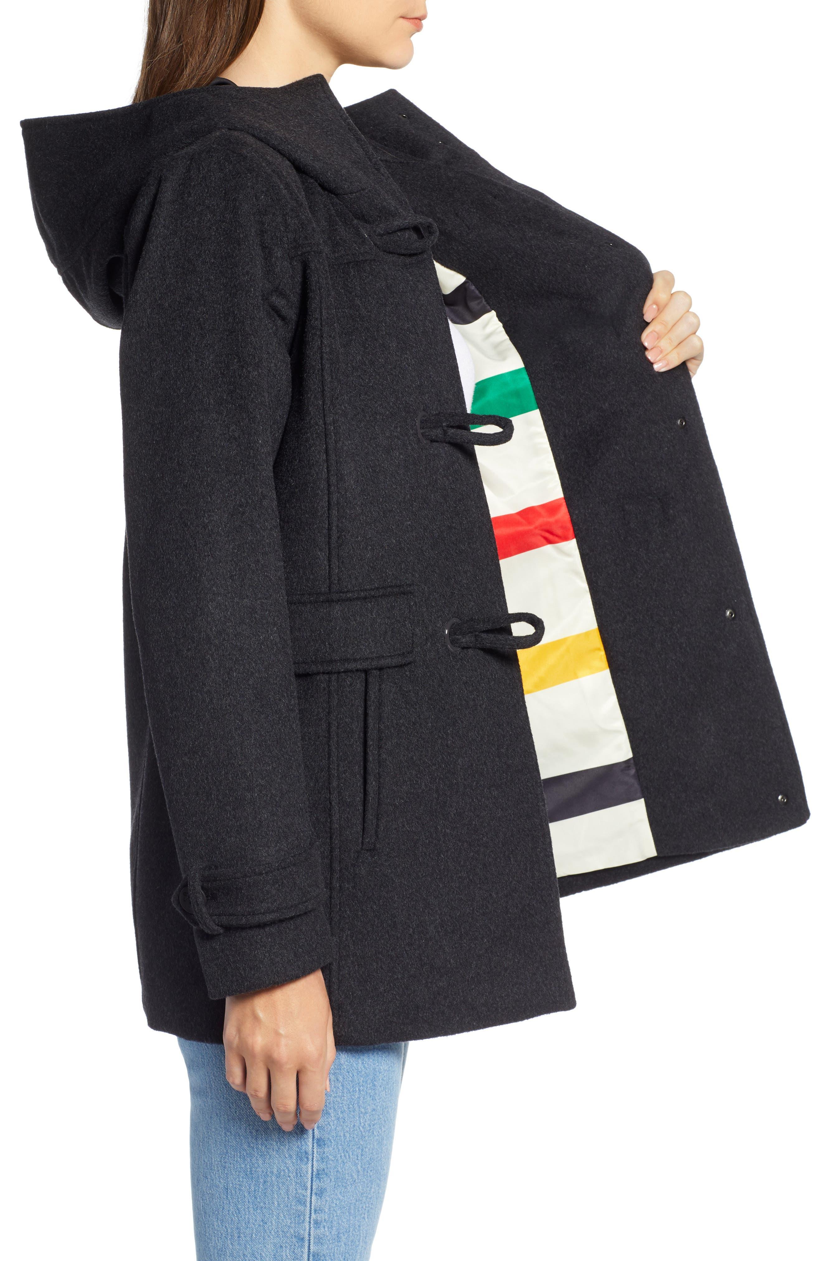 Roslyn Waterproof Lambswool Blend Hooded Coat,                             Alternate thumbnail 3, color,                             CHARCOAL