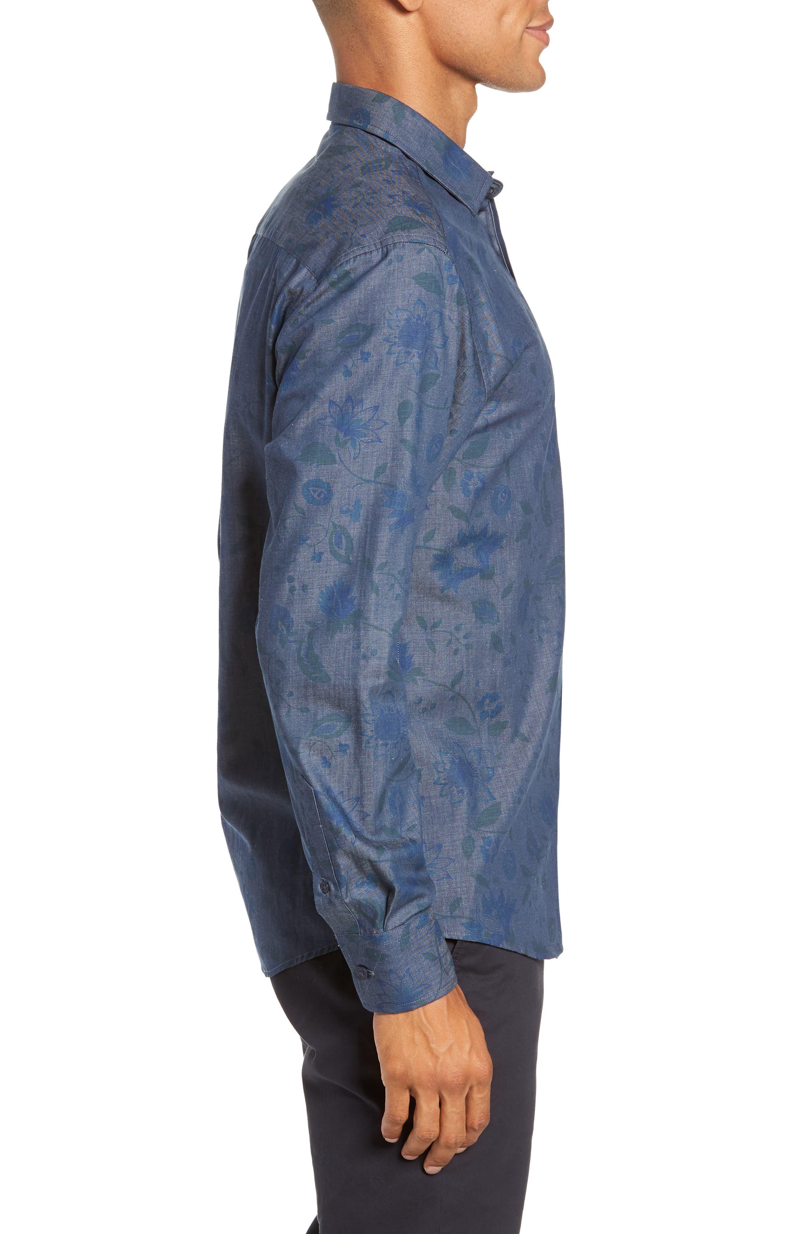Slim Fit Floral Chambray Sport Shirt,                             Alternate thumbnail 4, color,                             INDIGO CHAMBRAY FLORAL PRINT