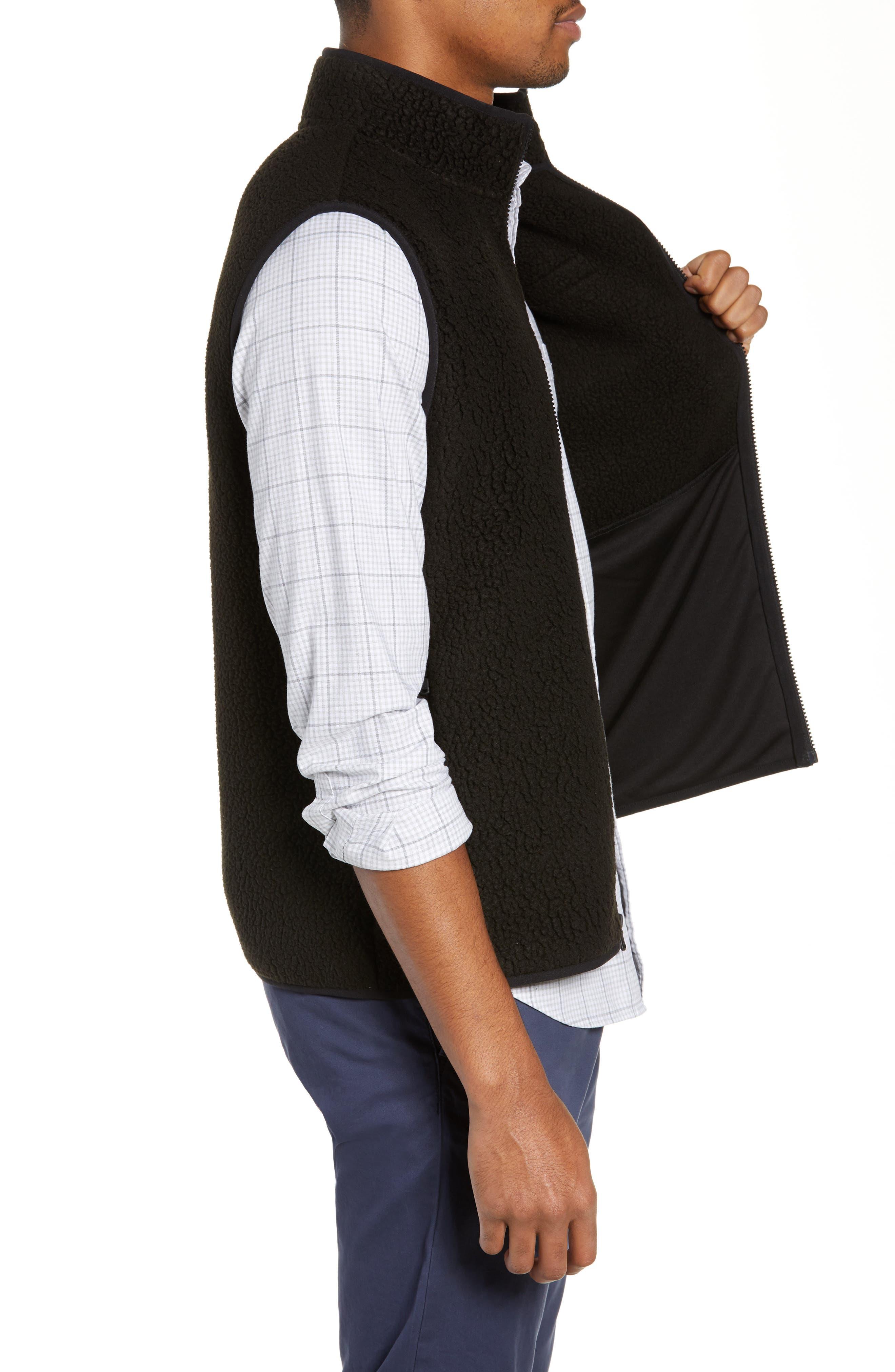 Harbor Regular Fit Fleece Vest,                             Alternate thumbnail 3, color,                             JET BLACK