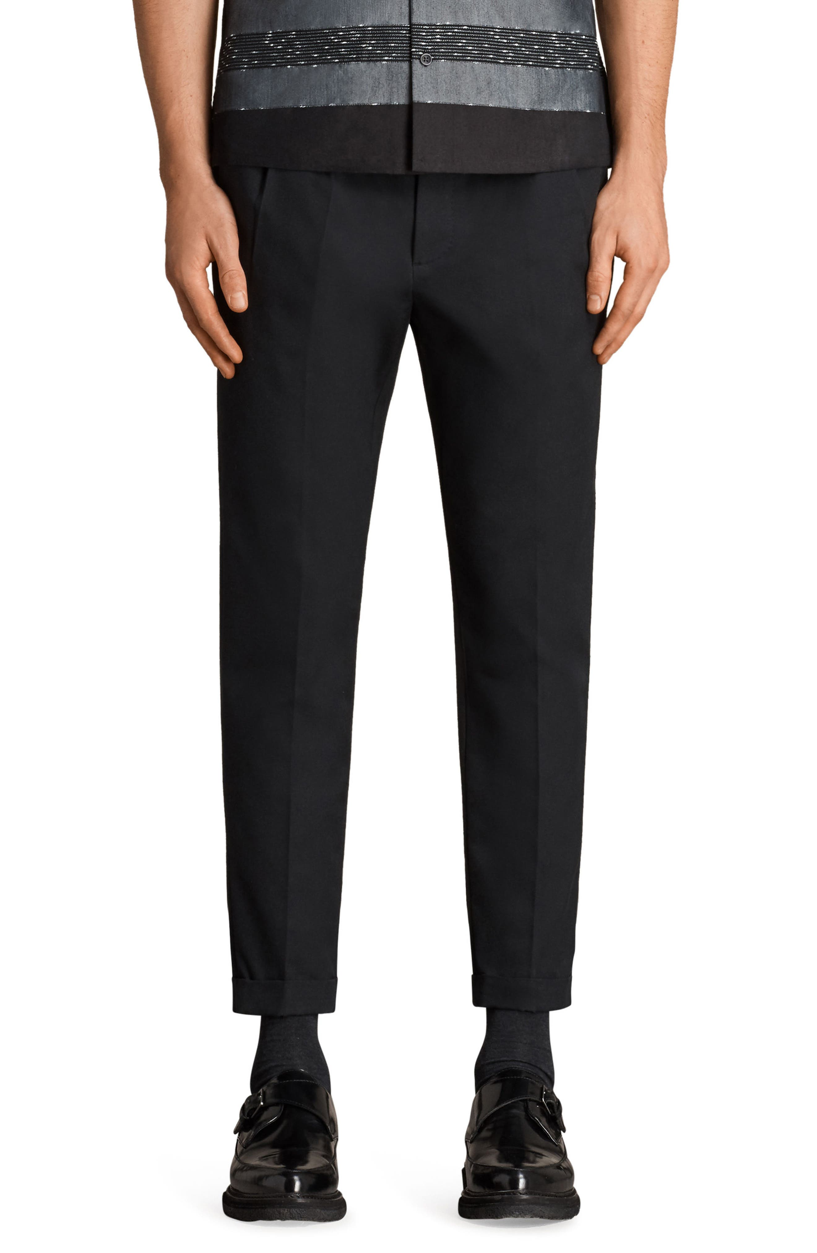 Tallis Pleated Cotton & Wool Trousers,                         Main,                         color, BLACK