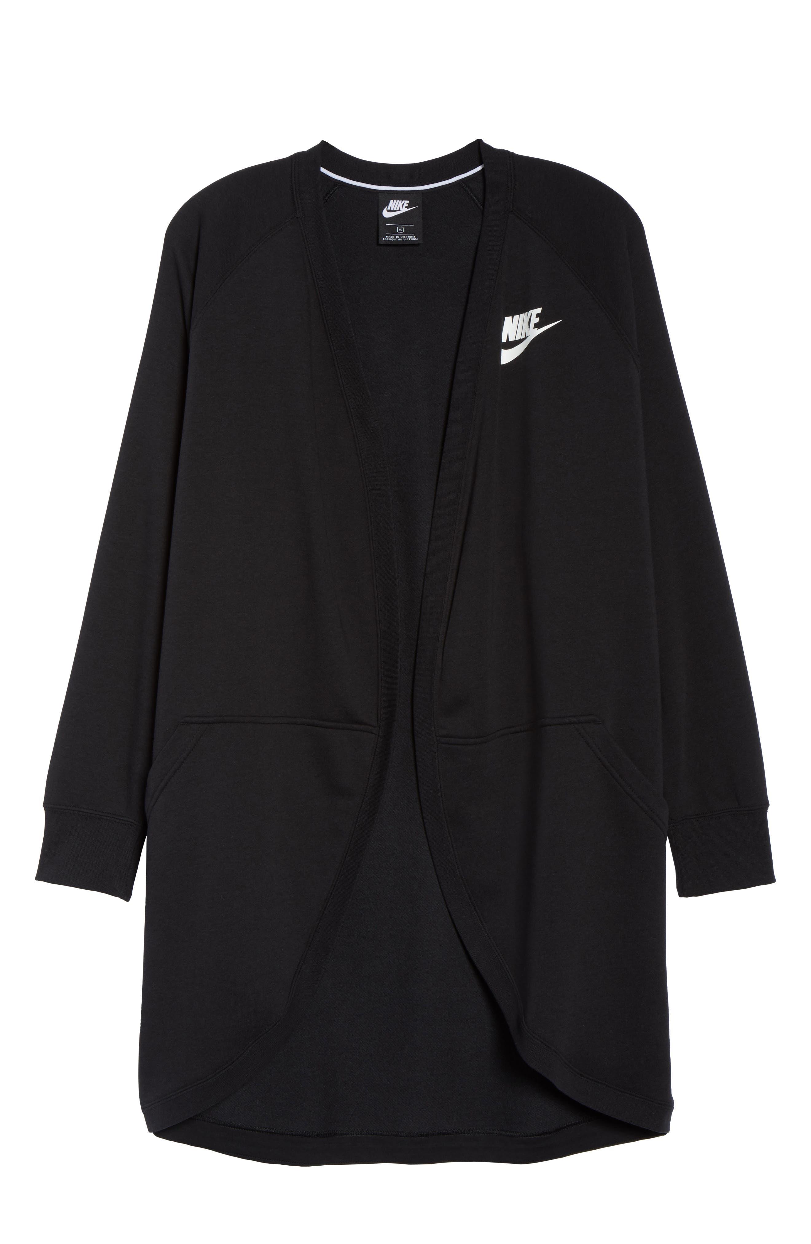 Sportswear Rally Cardigan,                             Alternate thumbnail 7, color,                             BLACK/ BLACK/ WHITE