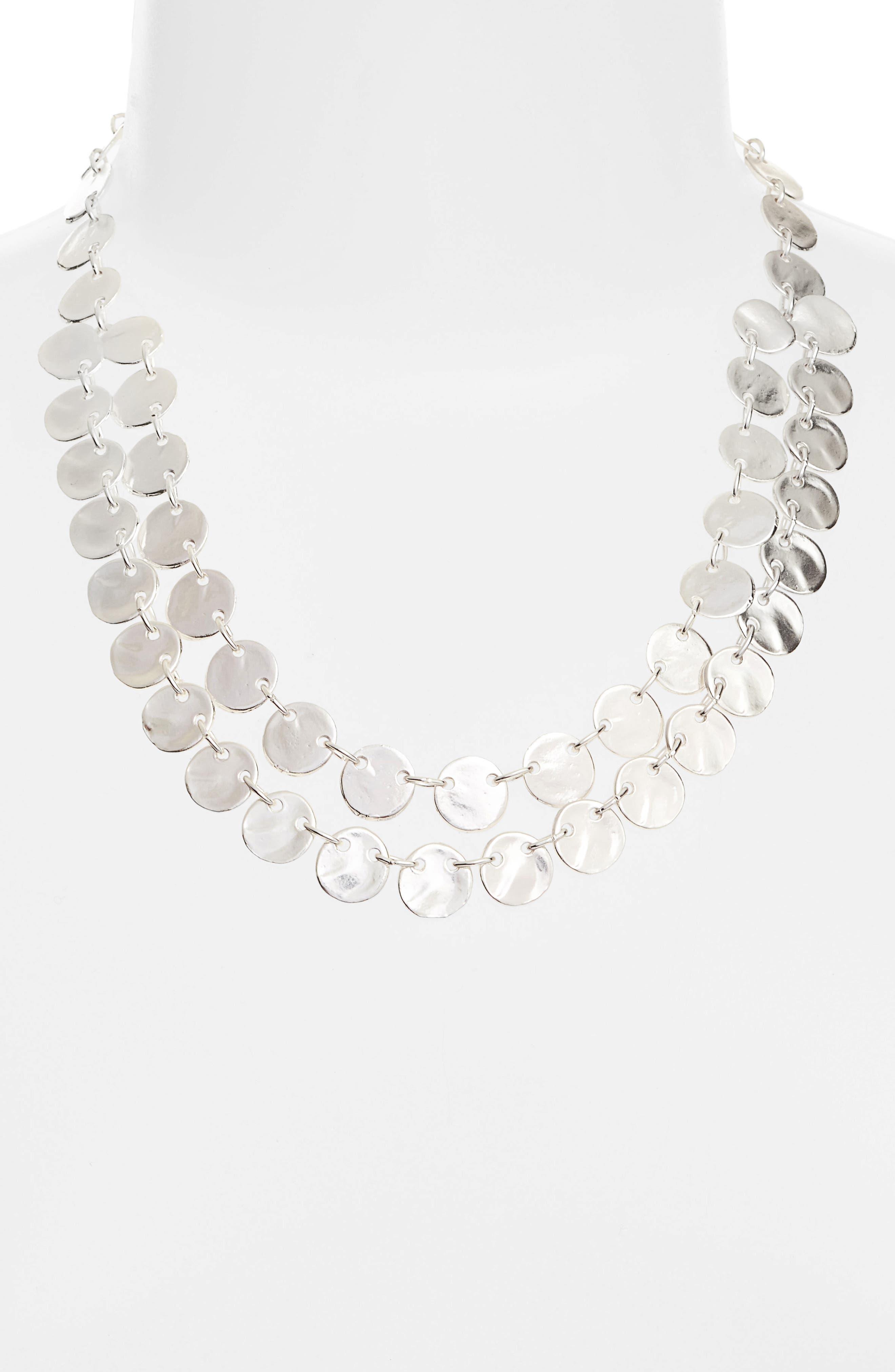 Ariane Coin Collar Necklace,                             Alternate thumbnail 2, color,                             SILVER