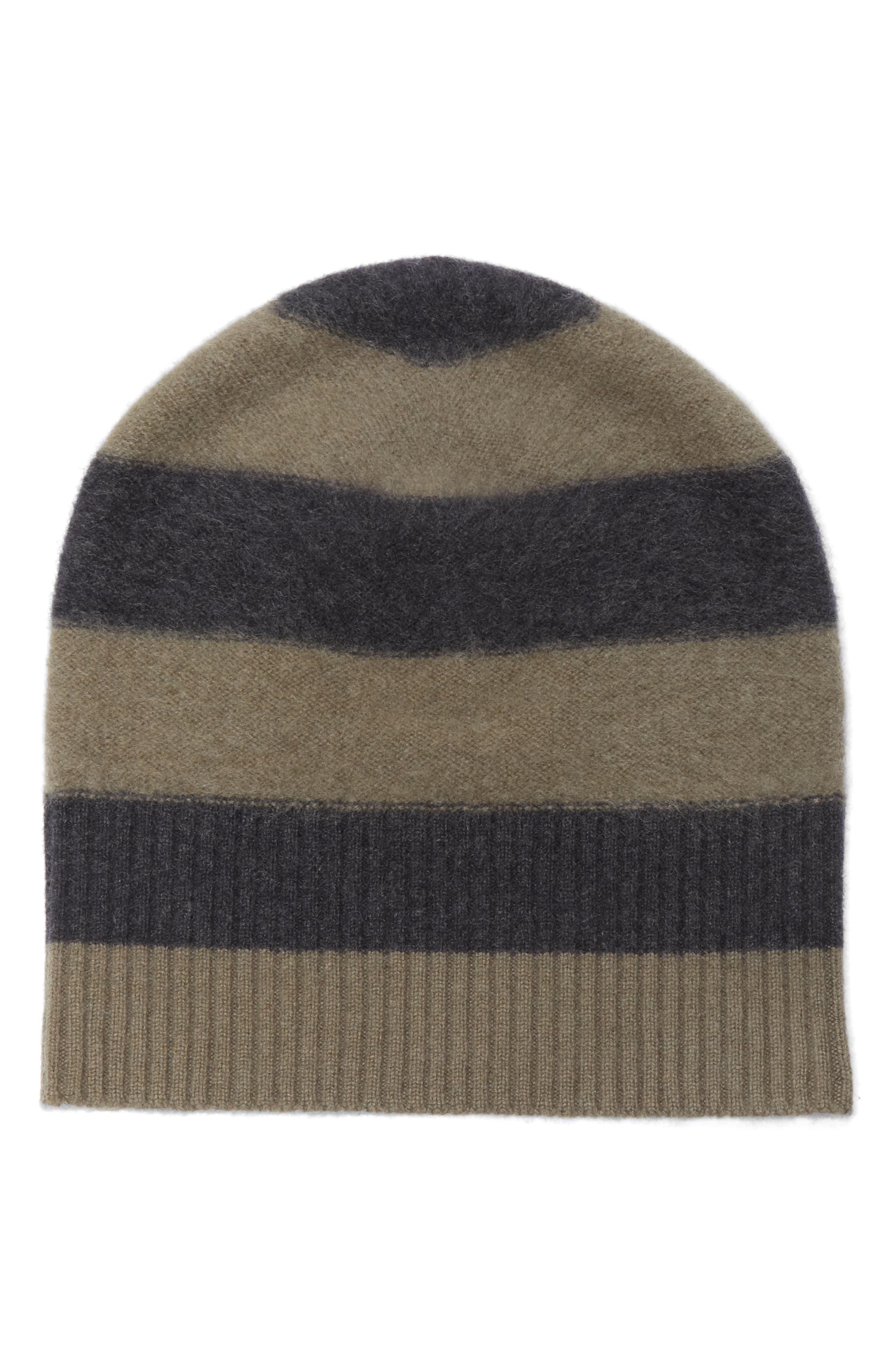 Stripe Cashmere Beanie,                             Main thumbnail 1, color,                             357