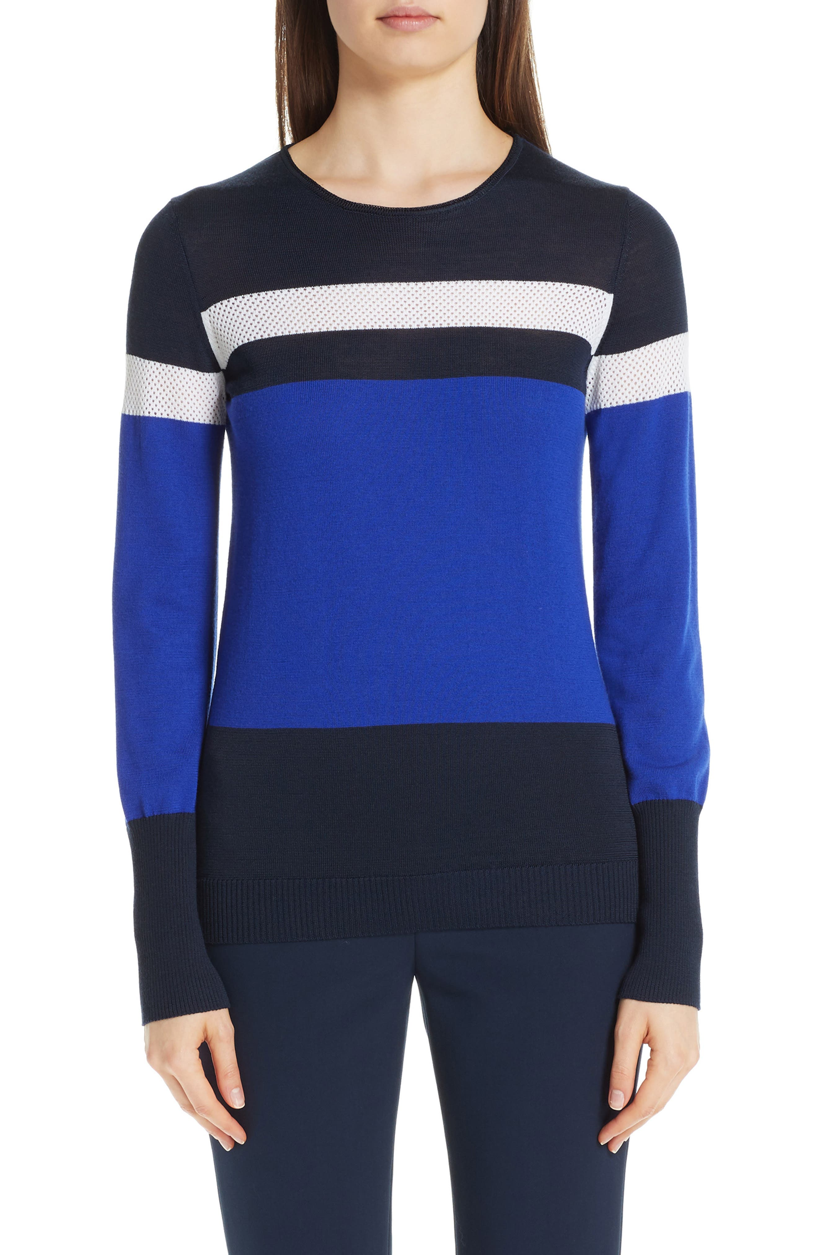 Mesh Panel Colorblock Jacquard Knit Sweater in Navy Multi