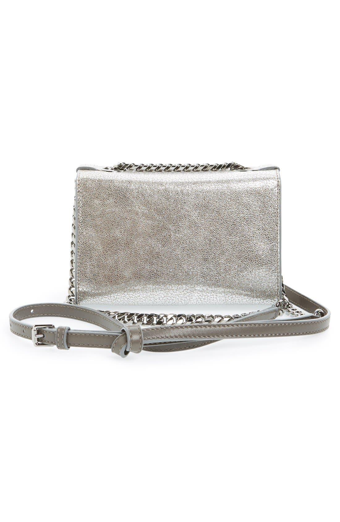 Rebel Mini Metallic Leather Crossbody Bag,                             Alternate thumbnail 3, color,                             040