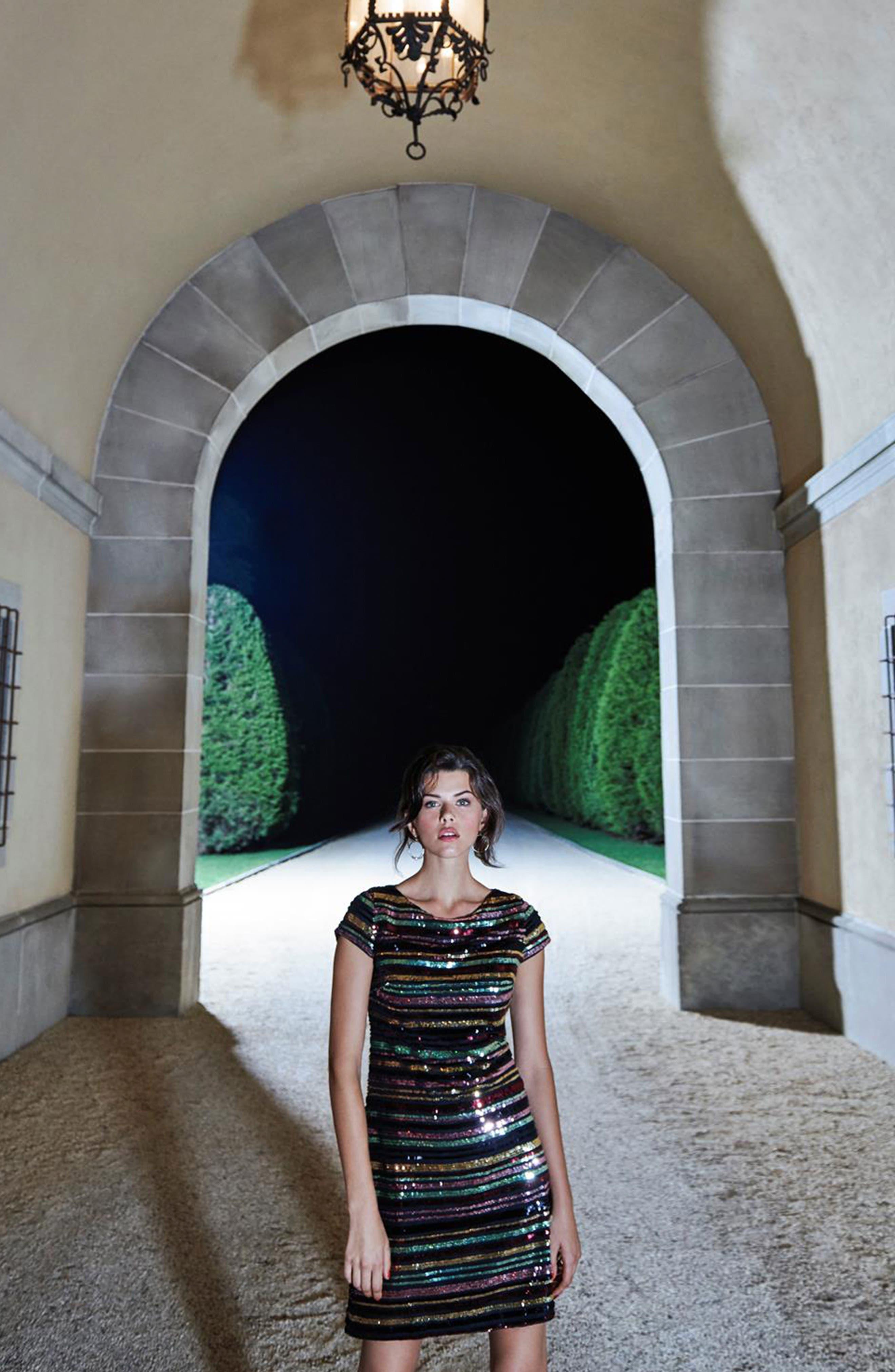 Sequin Stripe Dress,                             Alternate thumbnail 8, color,                             SEQUIN PRINT