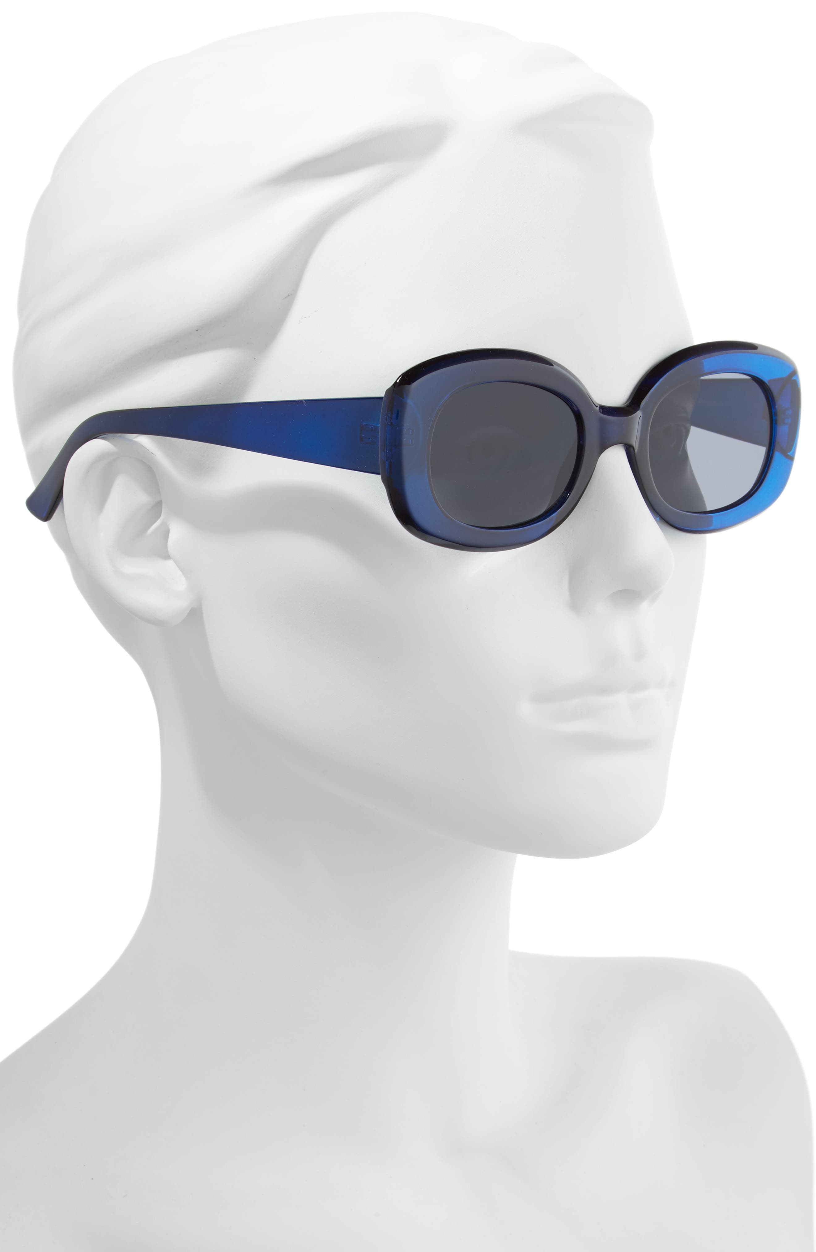 66mm Oval Sunglasses,                             Alternate thumbnail 2, color,                             BLUE/ BLACK
