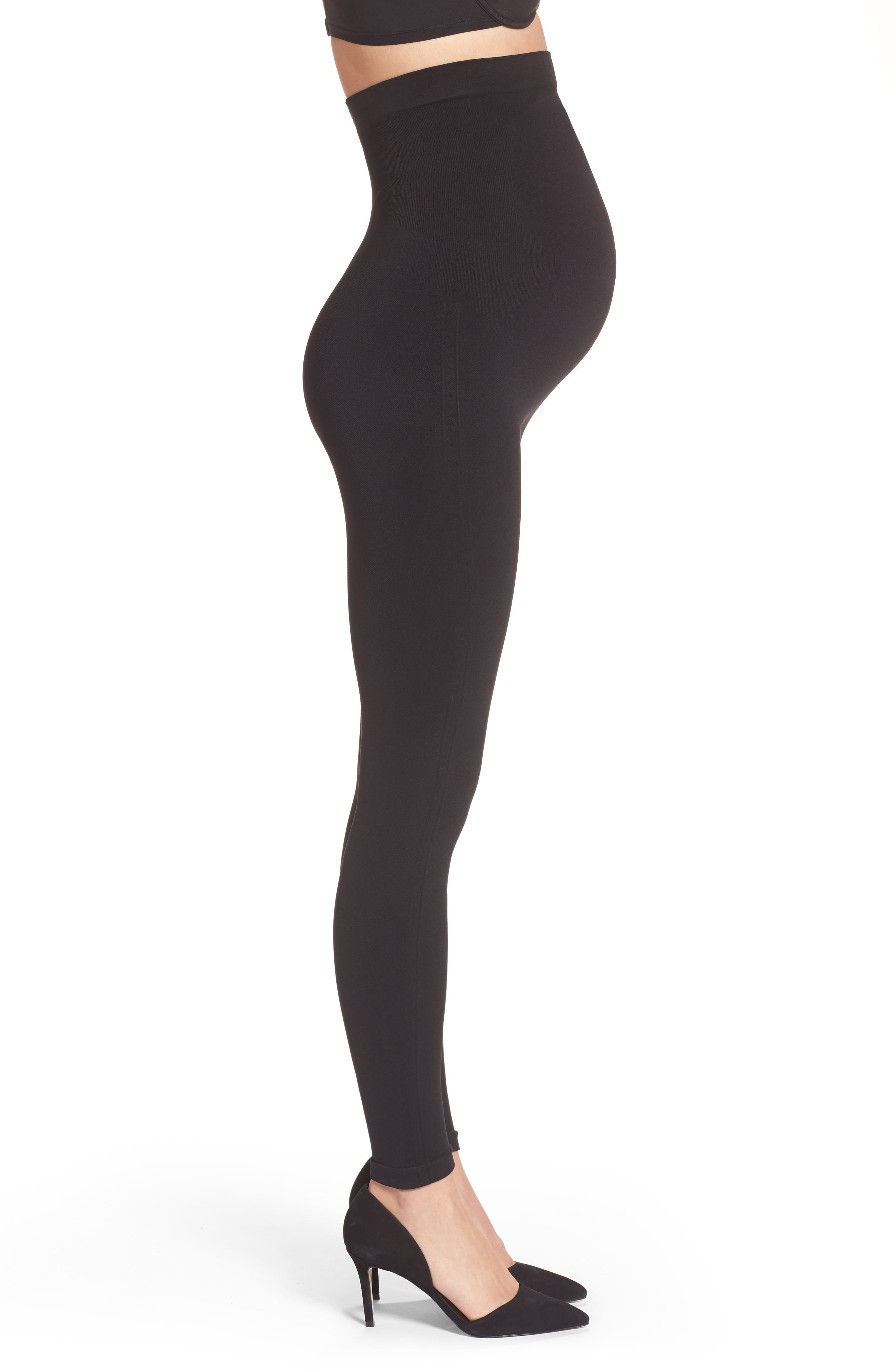 Mama Look at Me Now Seamless Maternity Leggings,                             Alternate thumbnail 3, color,                             VERY BLACK