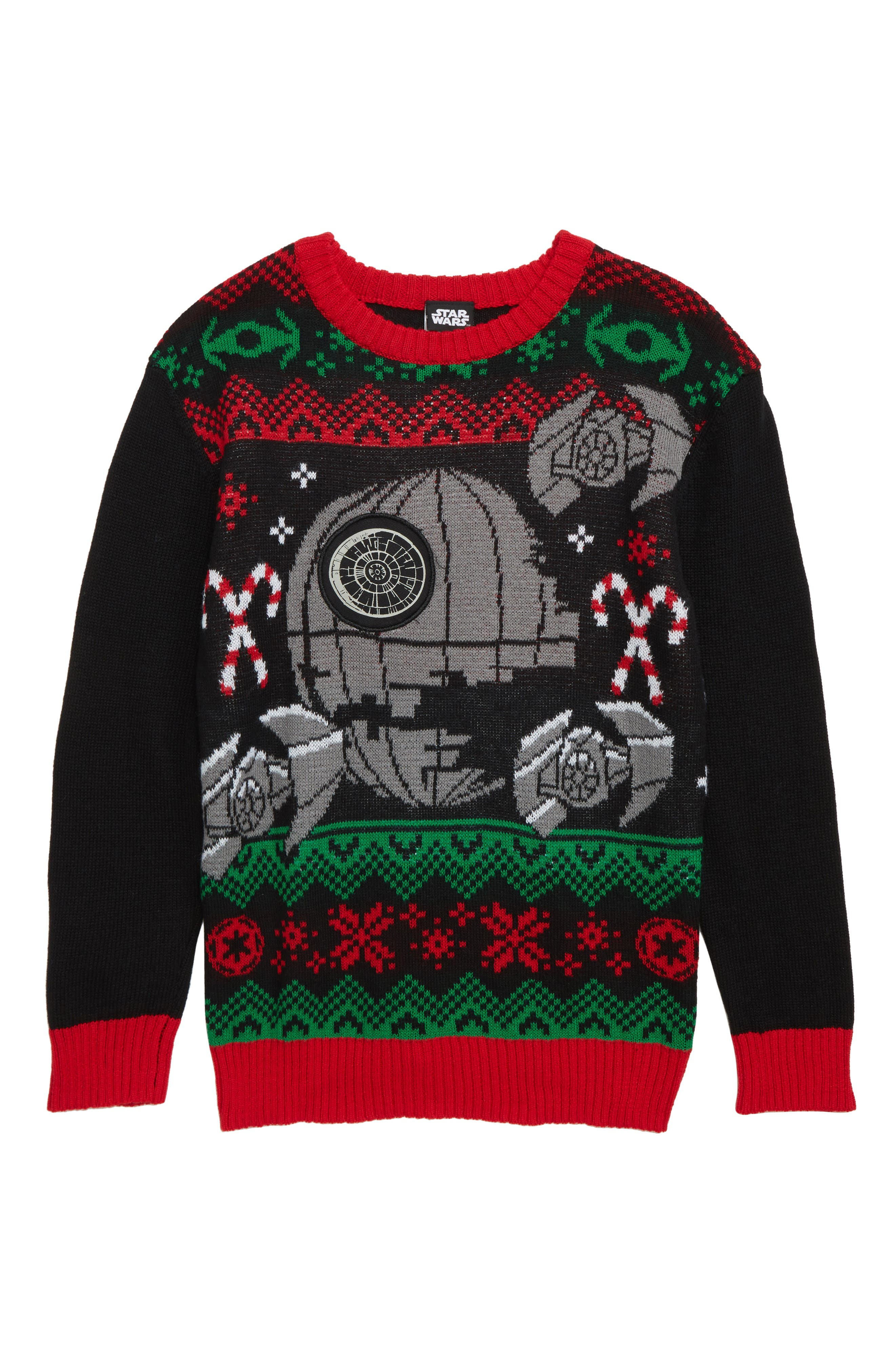 x Star Wars<sup>™</sup> Death Star Musical Holiday Sweater,                             Main thumbnail 1, color,                             BLACK