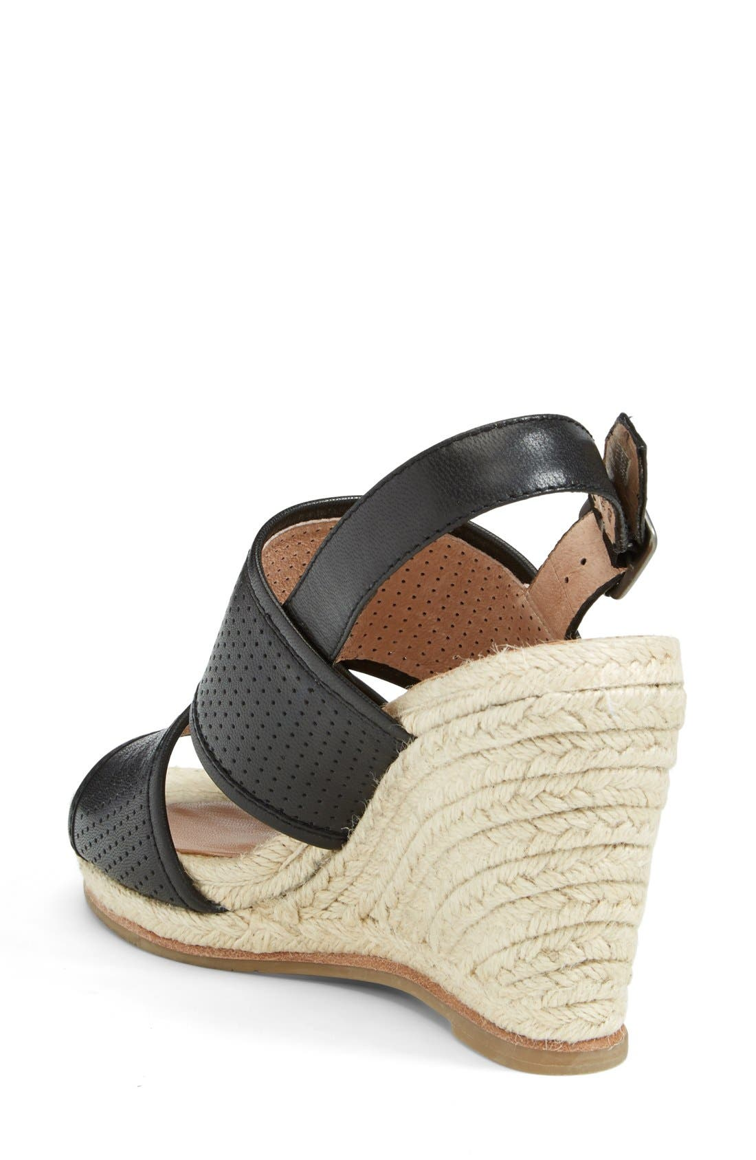 'Joyce' Perforated Espadrille Wedge Sandal,                             Alternate thumbnail 3, color,                             001