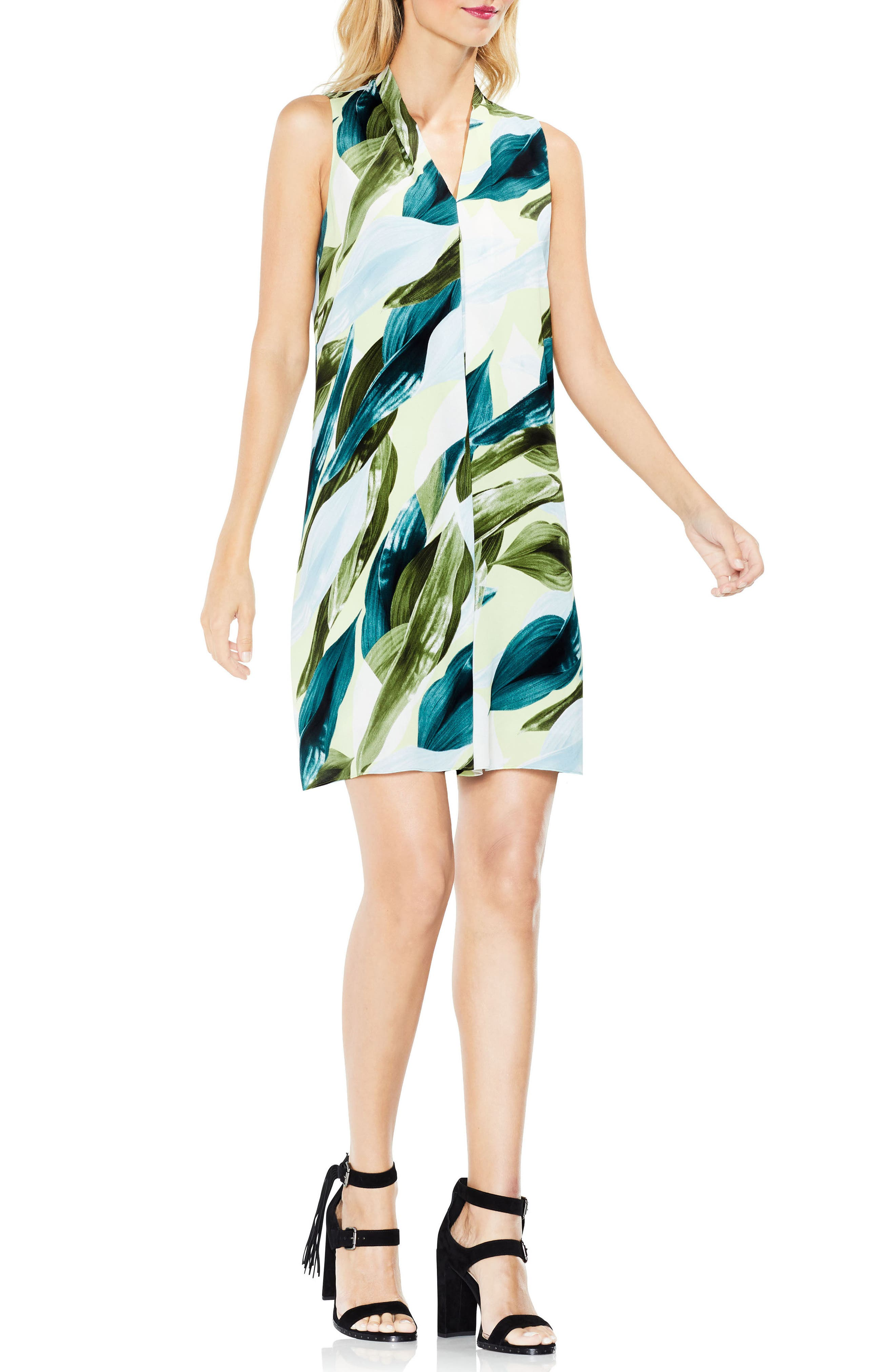 Breezy Leaves Inverted Pleat Dress,                         Main,                         color, 108