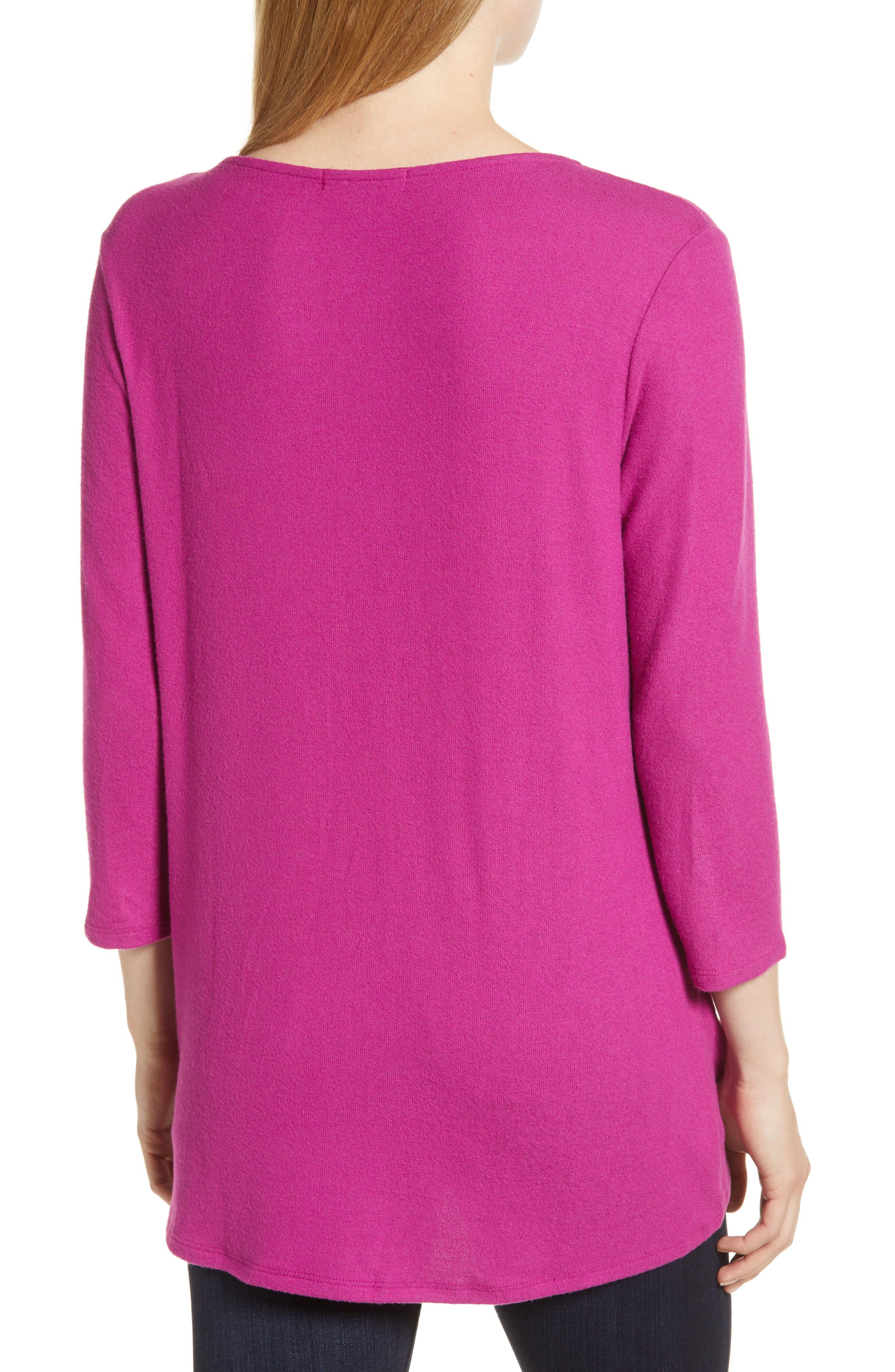 Cozy Twist Front Pullover,                             Alternate thumbnail 2, color,                             PURPLE VINTER SOLID