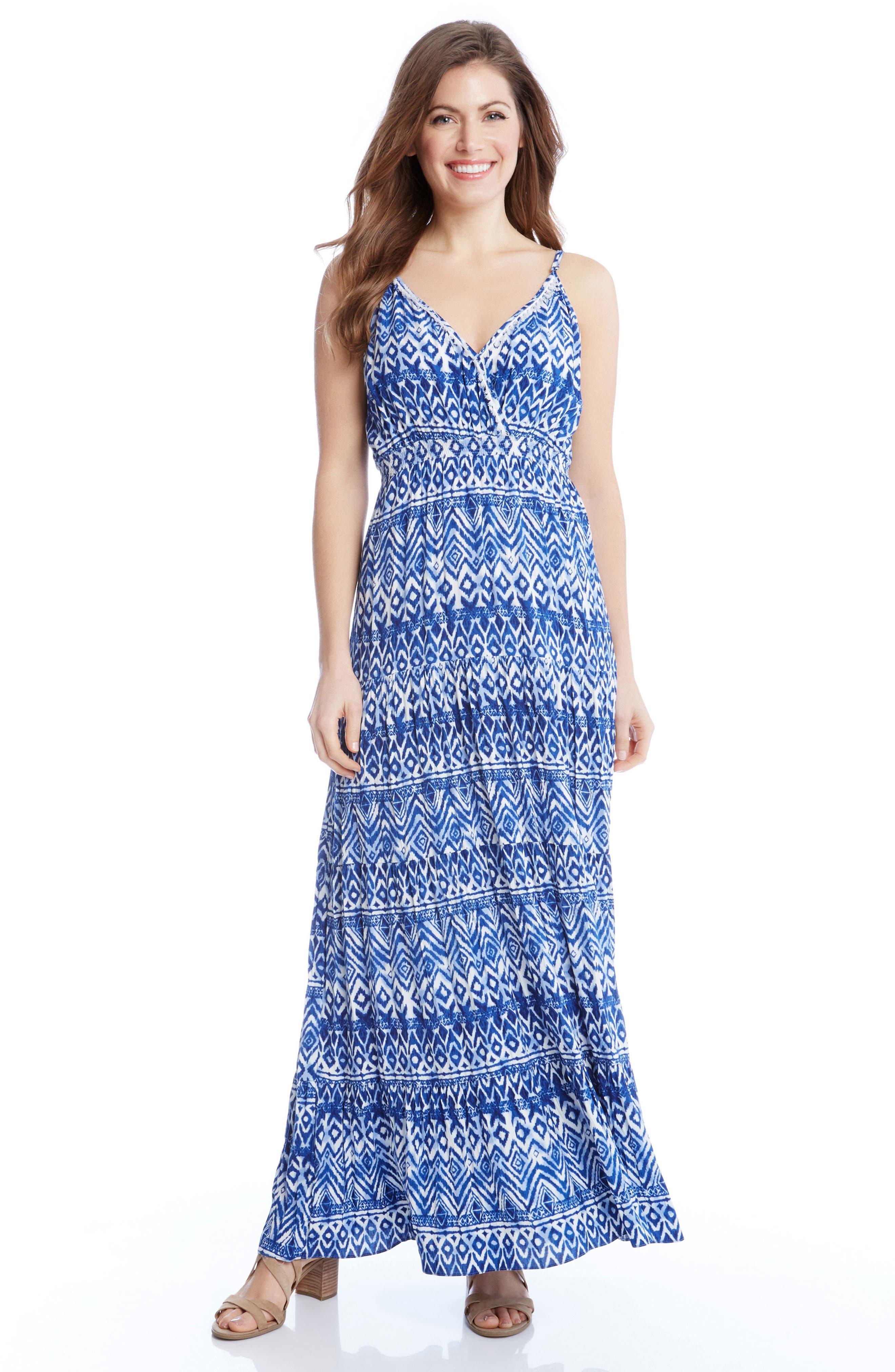 Batik Print Tiered Maxi Dress,                             Alternate thumbnail 3, color,                             460