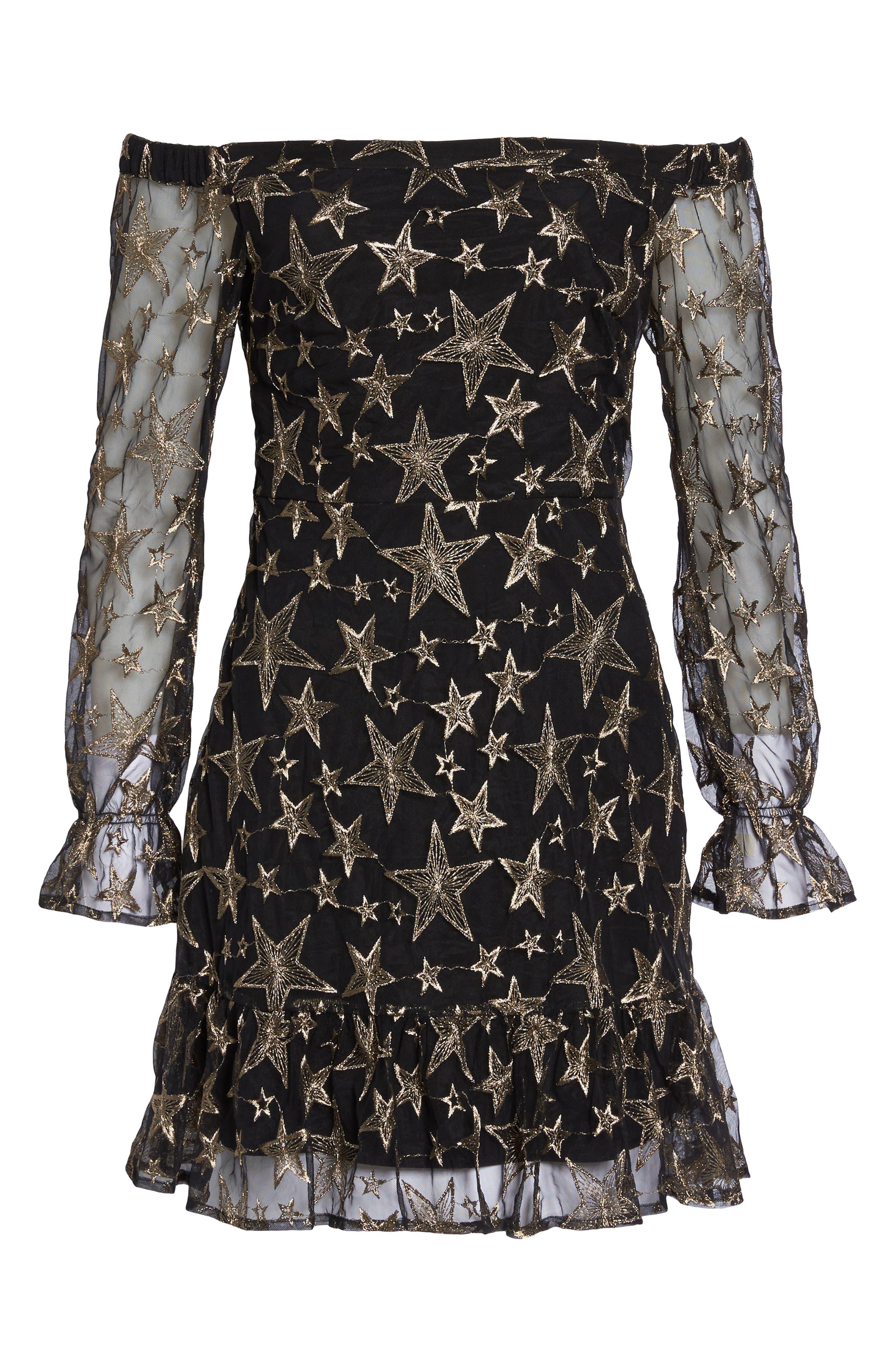 Off the Shoulder Star Embroidered Dress,                             Alternate thumbnail 6, color,                             001