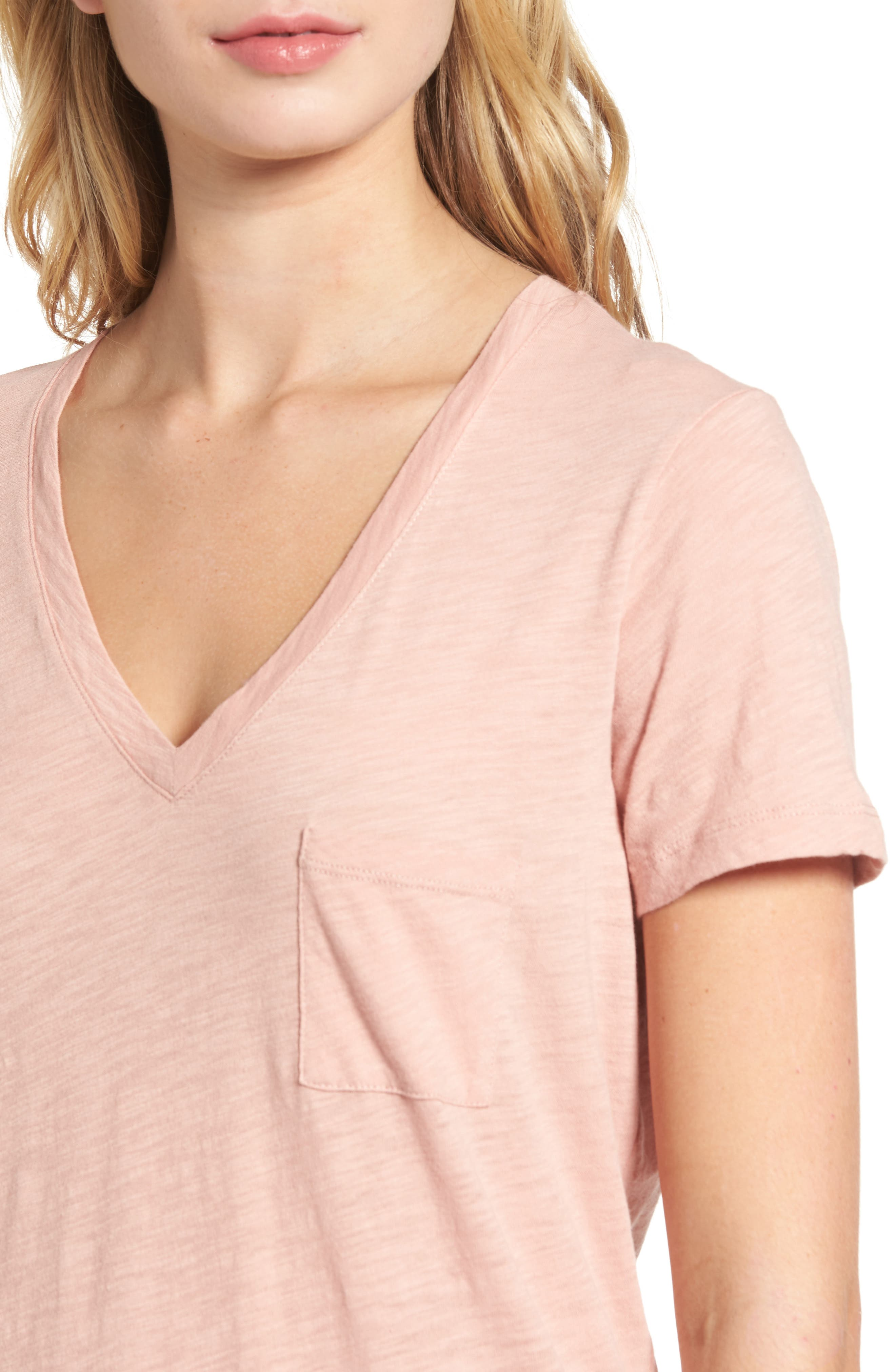 Whisper Cotton V-Neck Pocket Tee,                             Alternate thumbnail 176, color,