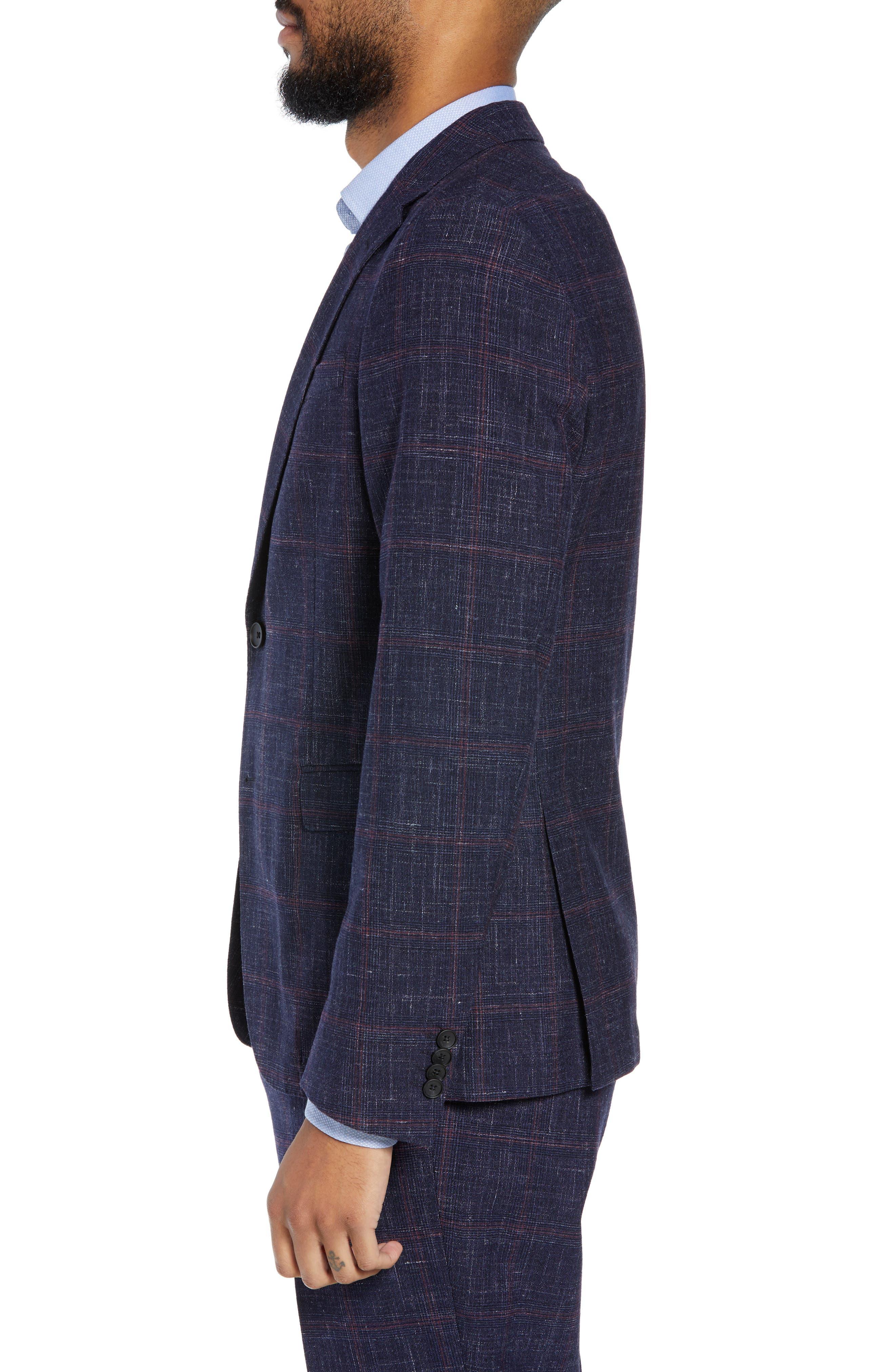 Nobis Trim Fit Plaid Wool Blend Sport Coat,                             Alternate thumbnail 3, color,                             DARK BLUE
