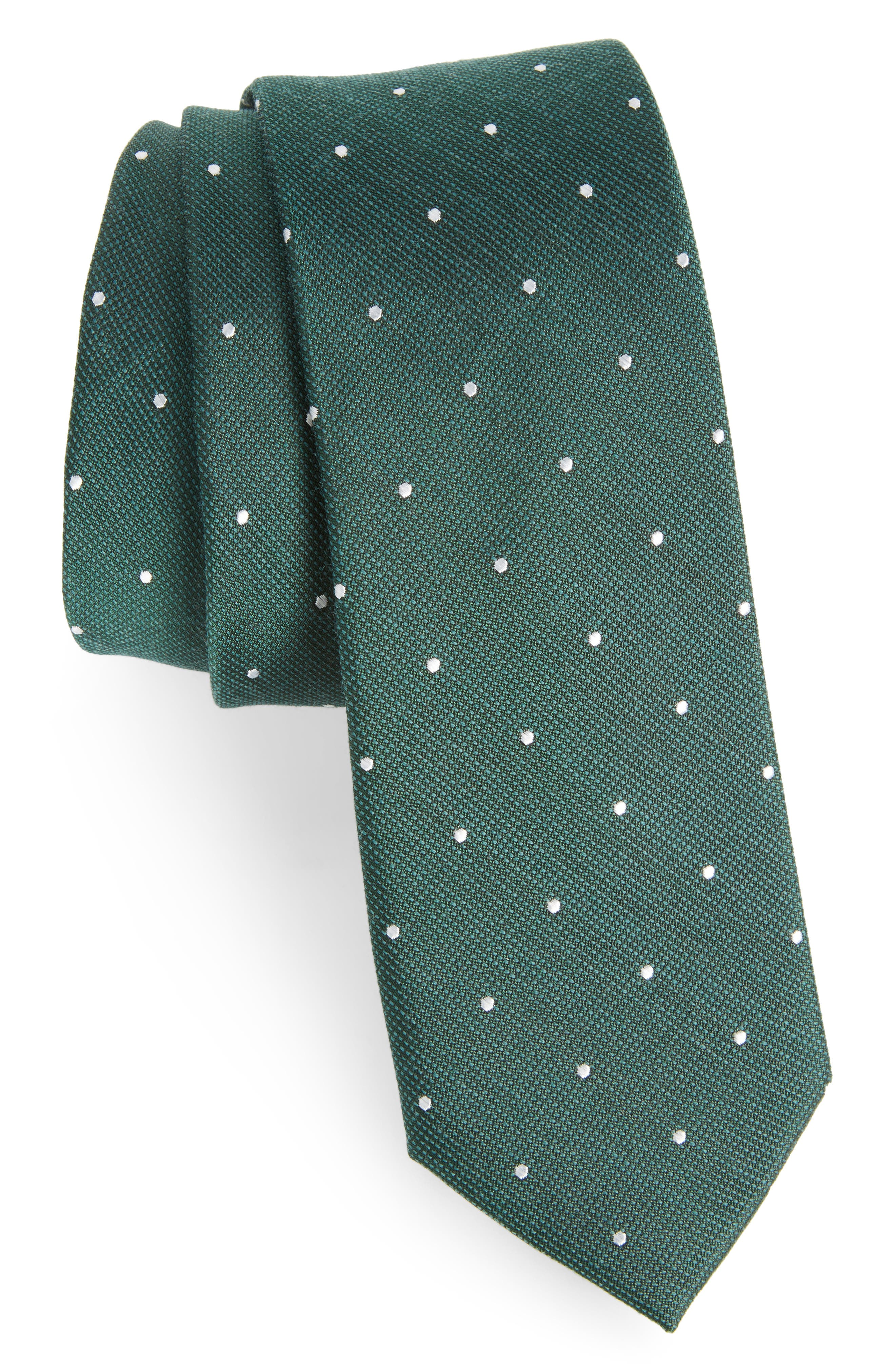 Dotted Report Silk & Wool Tie,                         Main,                         color, 300