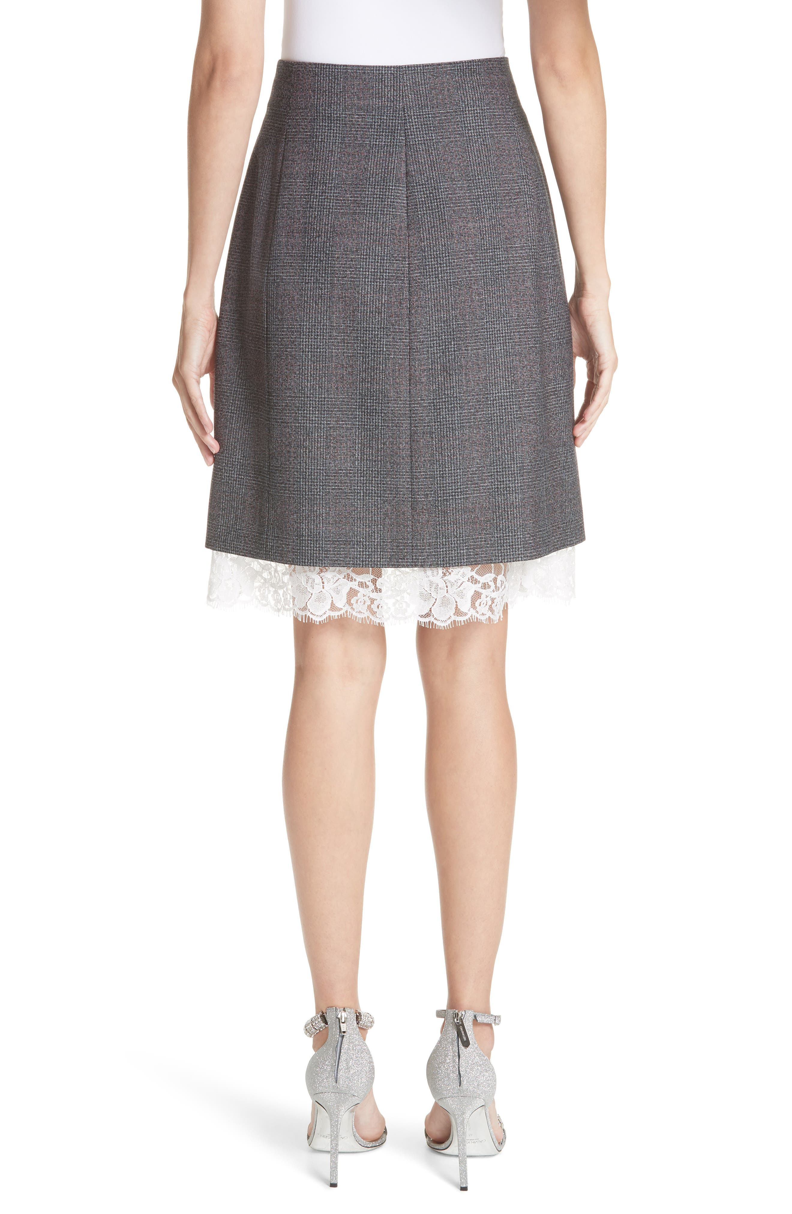 Lace Trim Wool Skirt,                             Alternate thumbnail 3, color,                             DARK GREY GRENADINE