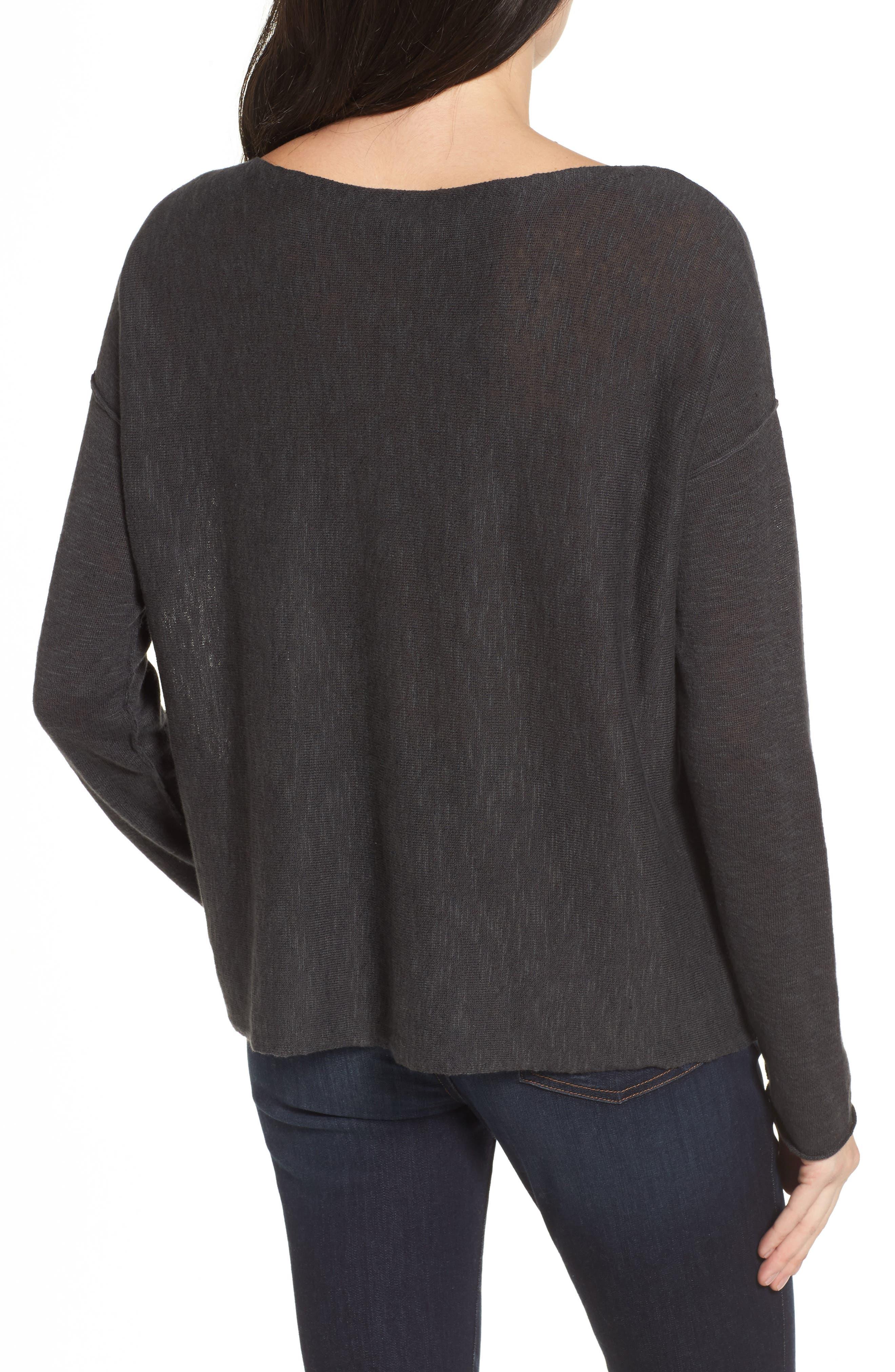Organic Linen & Cotton Knit Boxy Top,                             Alternate thumbnail 2, color,                             021