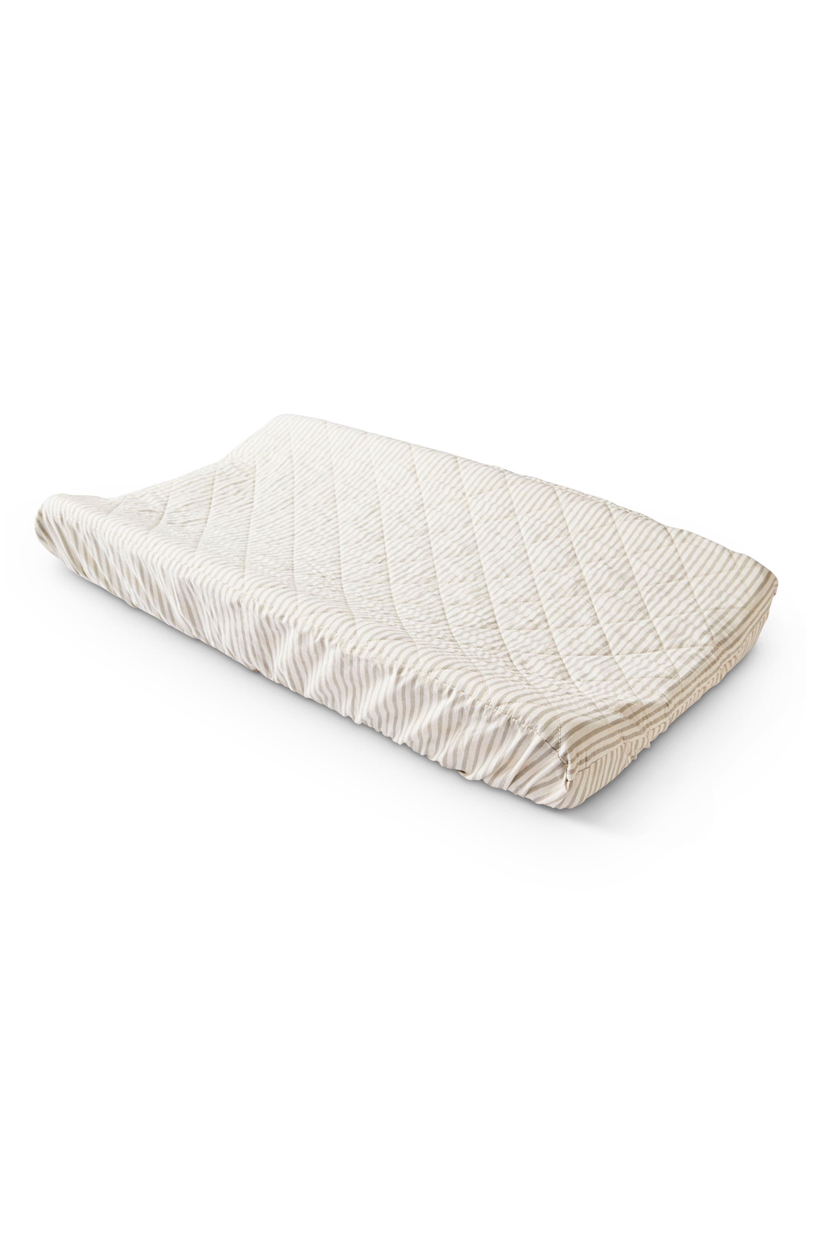 PEHR Stripes Away Changing Pad Cover, Main, color, PEBBLE