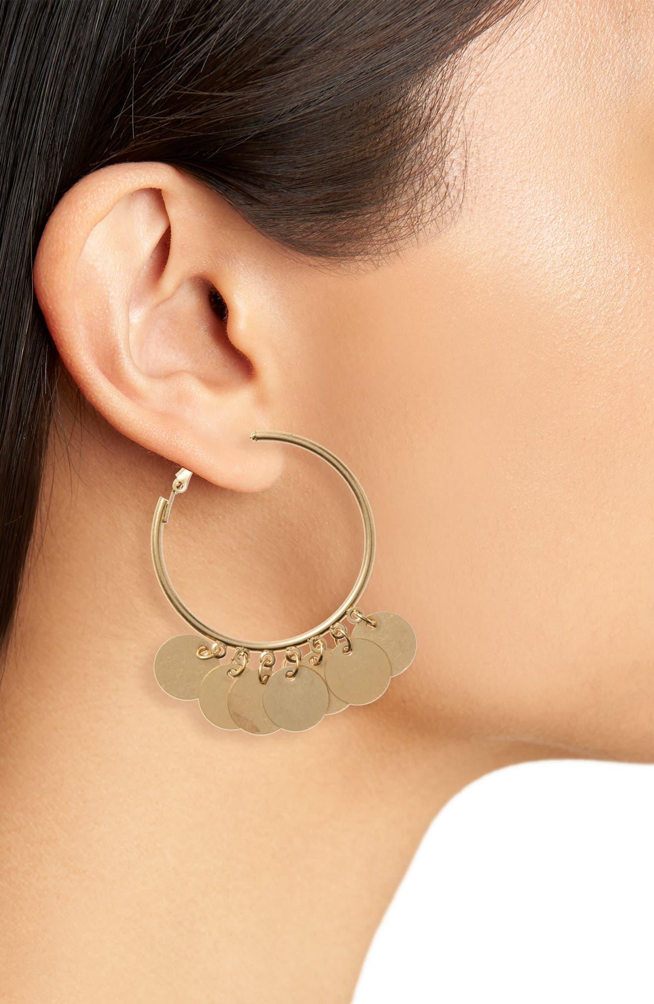 Disc Hoop Earrings,                             Alternate thumbnail 2, color,