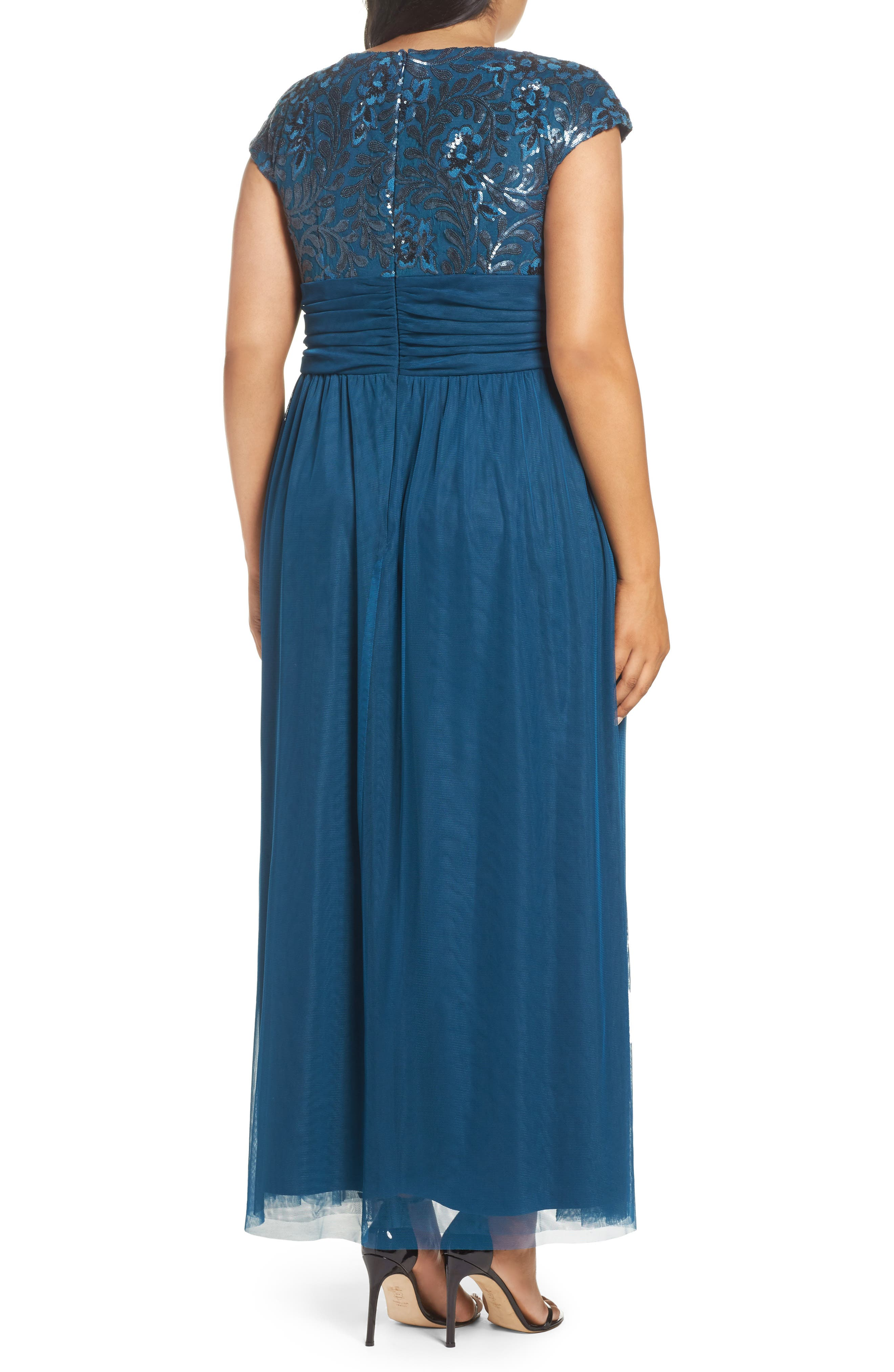 Embellished Cap Sleeve Gown,                             Alternate thumbnail 2, color,                             TEAL