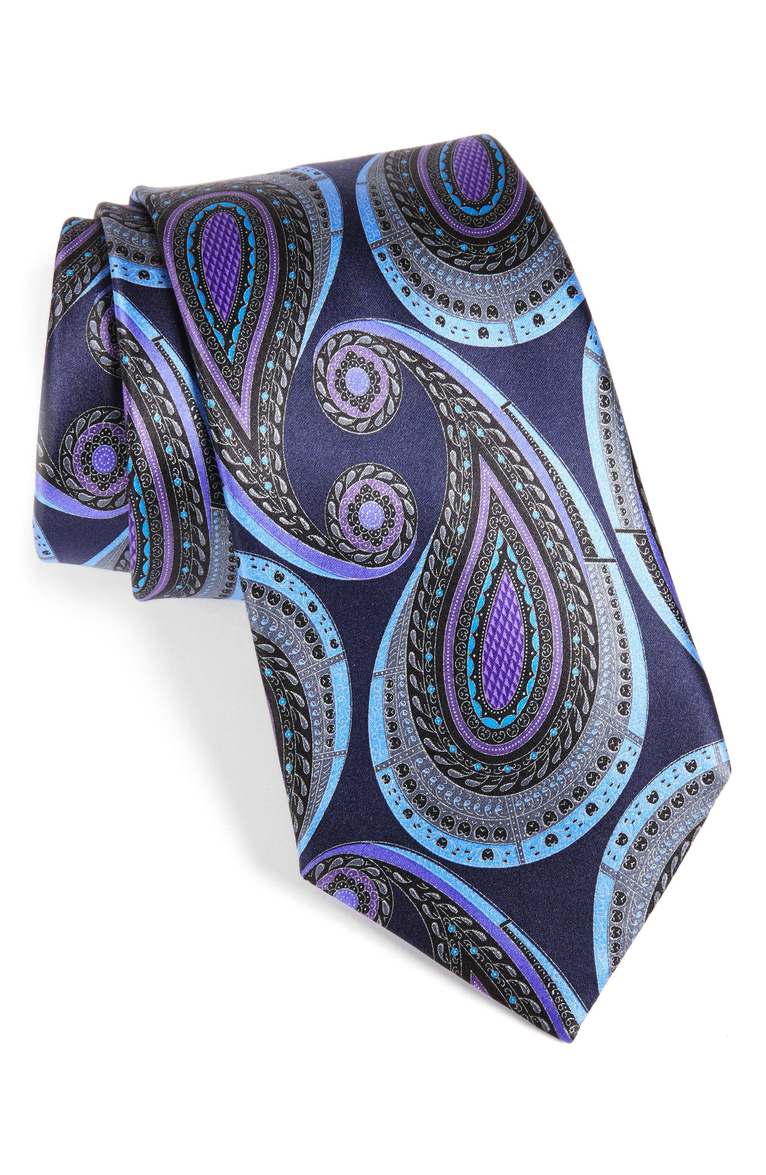 Paisley Silk Tie,                             Main thumbnail 1, color,                             418