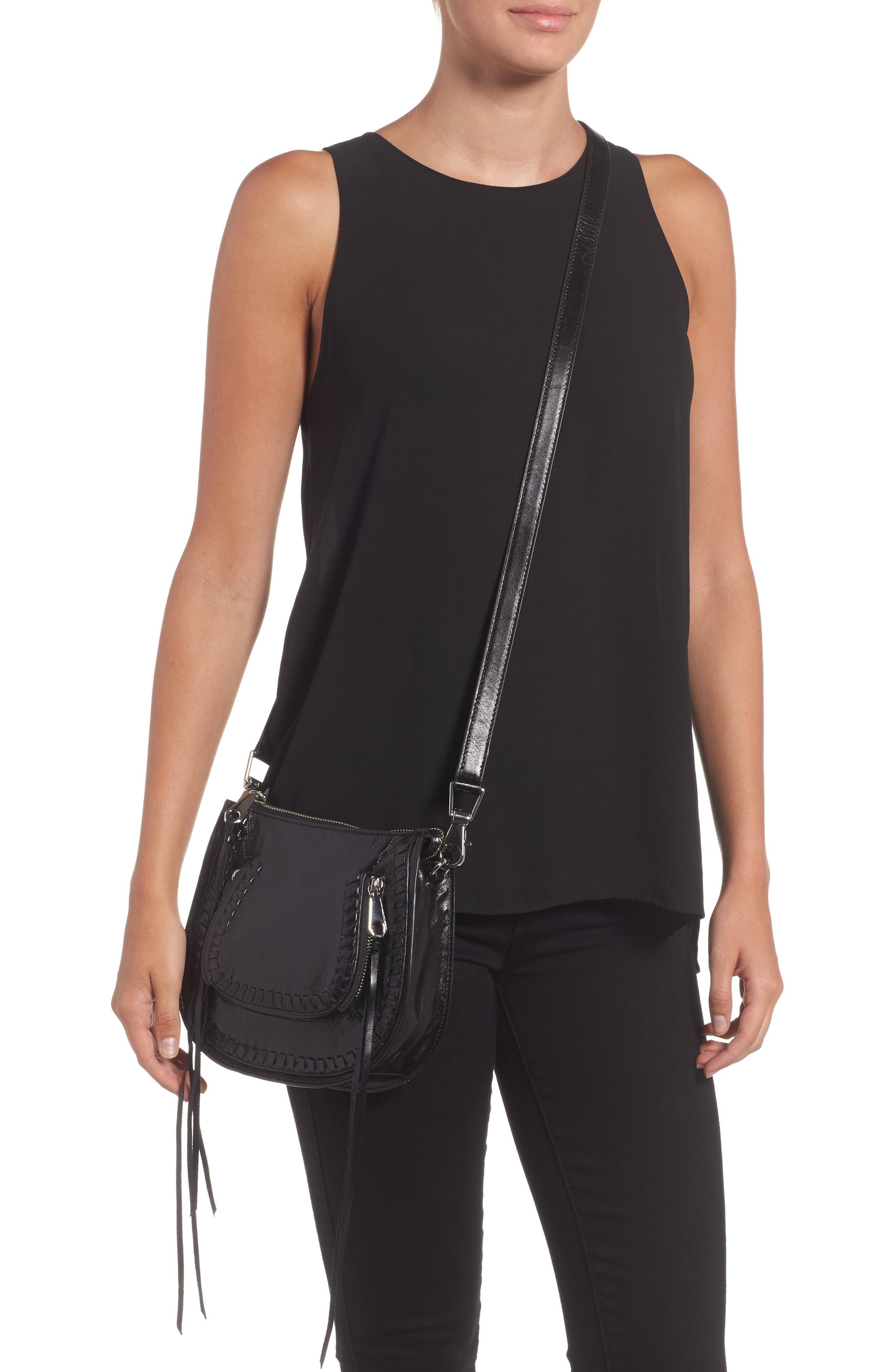 Mini Vanity Leather Saddle Bag,                             Alternate thumbnail 2, color,                             001