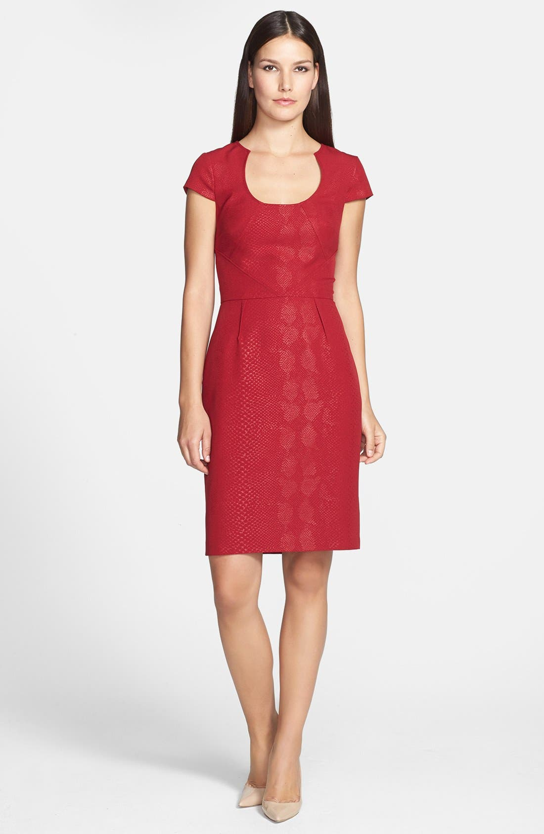 Snakeskin Embossed Crepe Sheath Dress,                             Main thumbnail 1, color,                             621