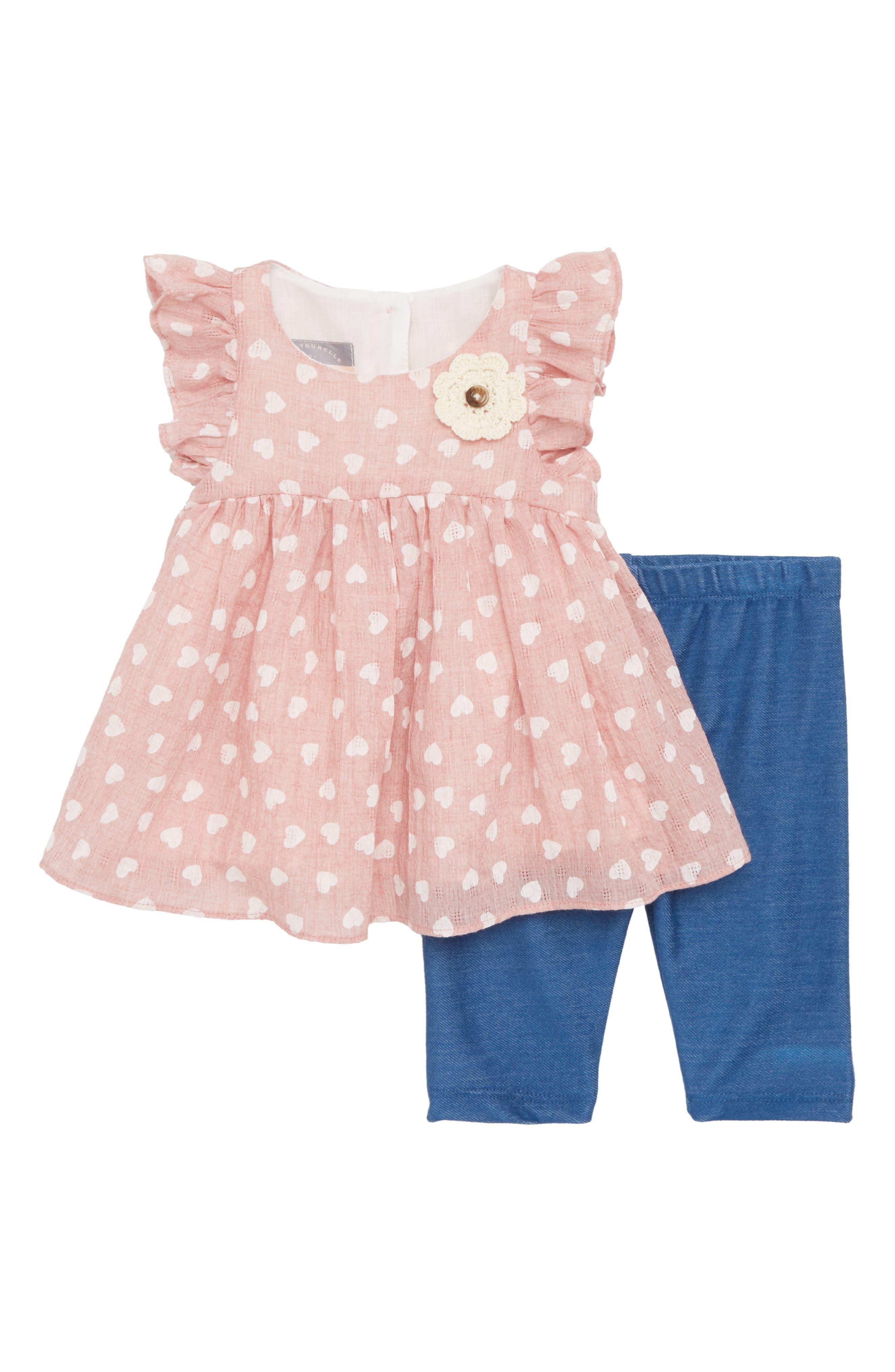Heart Flutter Sleeve Dress & Capri Leggings Set,                             Main thumbnail 1, color,                             650