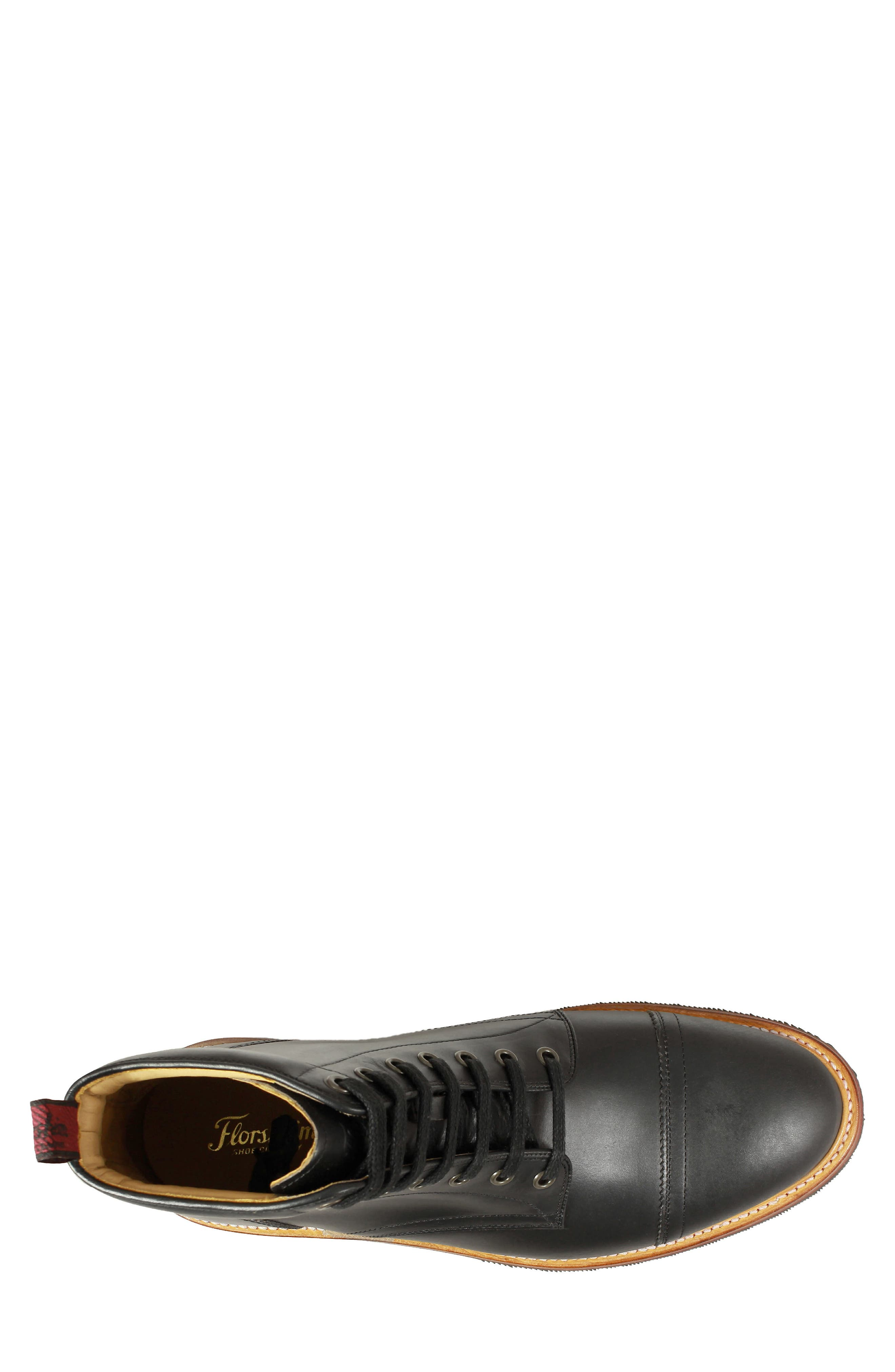 Founcry Cap Toe Boot,                             Alternate thumbnail 5, color,                             BLACK LEATHER