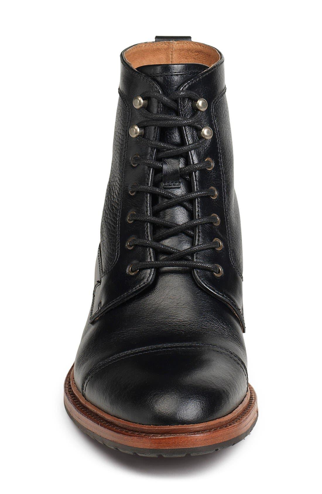 'Lowell' Cap Toe Boot,                             Alternate thumbnail 3, color,                             BLACK