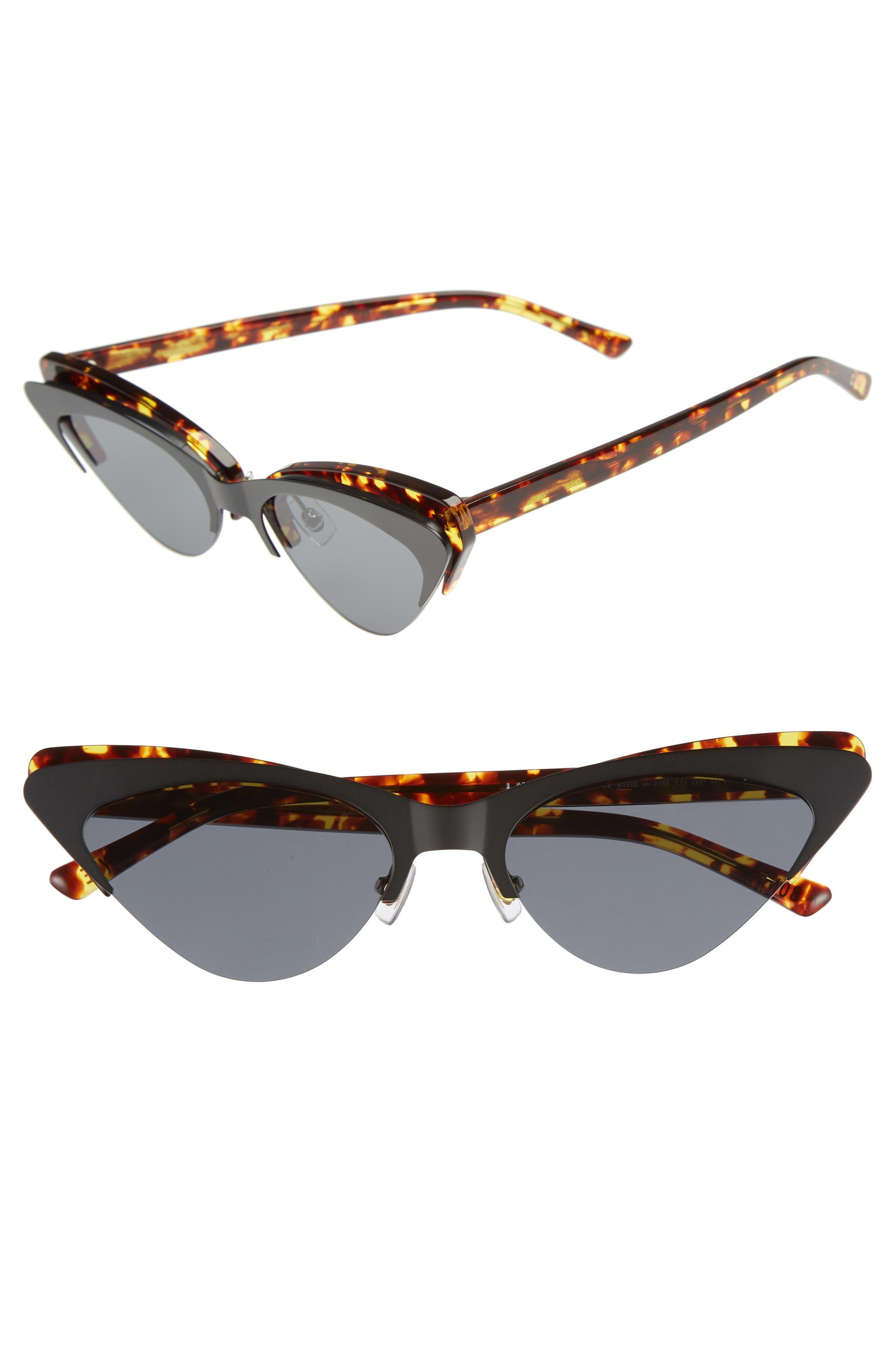 Layer Cake 55mm Cat Eye Sunglasses,                             Main thumbnail 1, color,                             TORTOISE/ BLACK